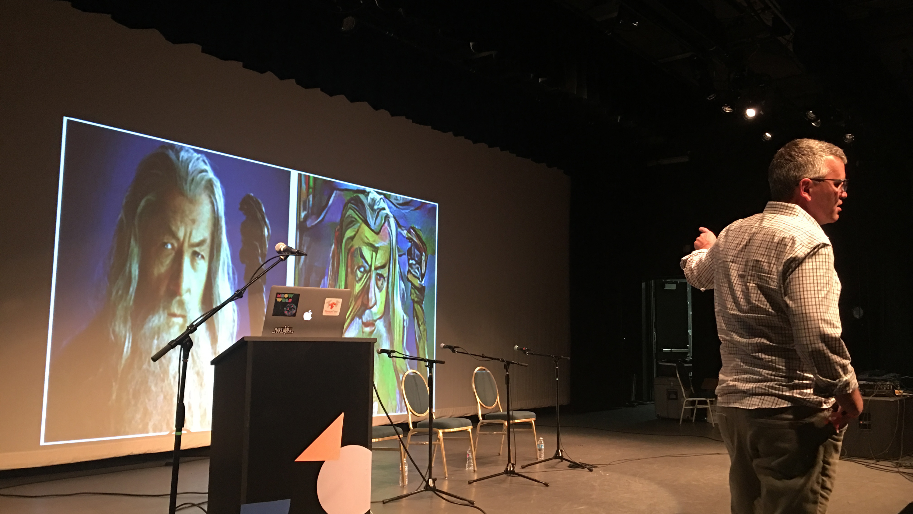 Google researcher Douglas Eck showing off an AI-generated image at Moogfest.