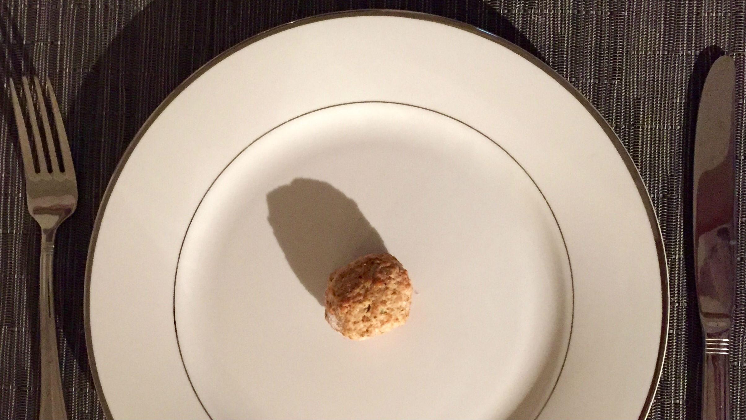 meatball on a plate.