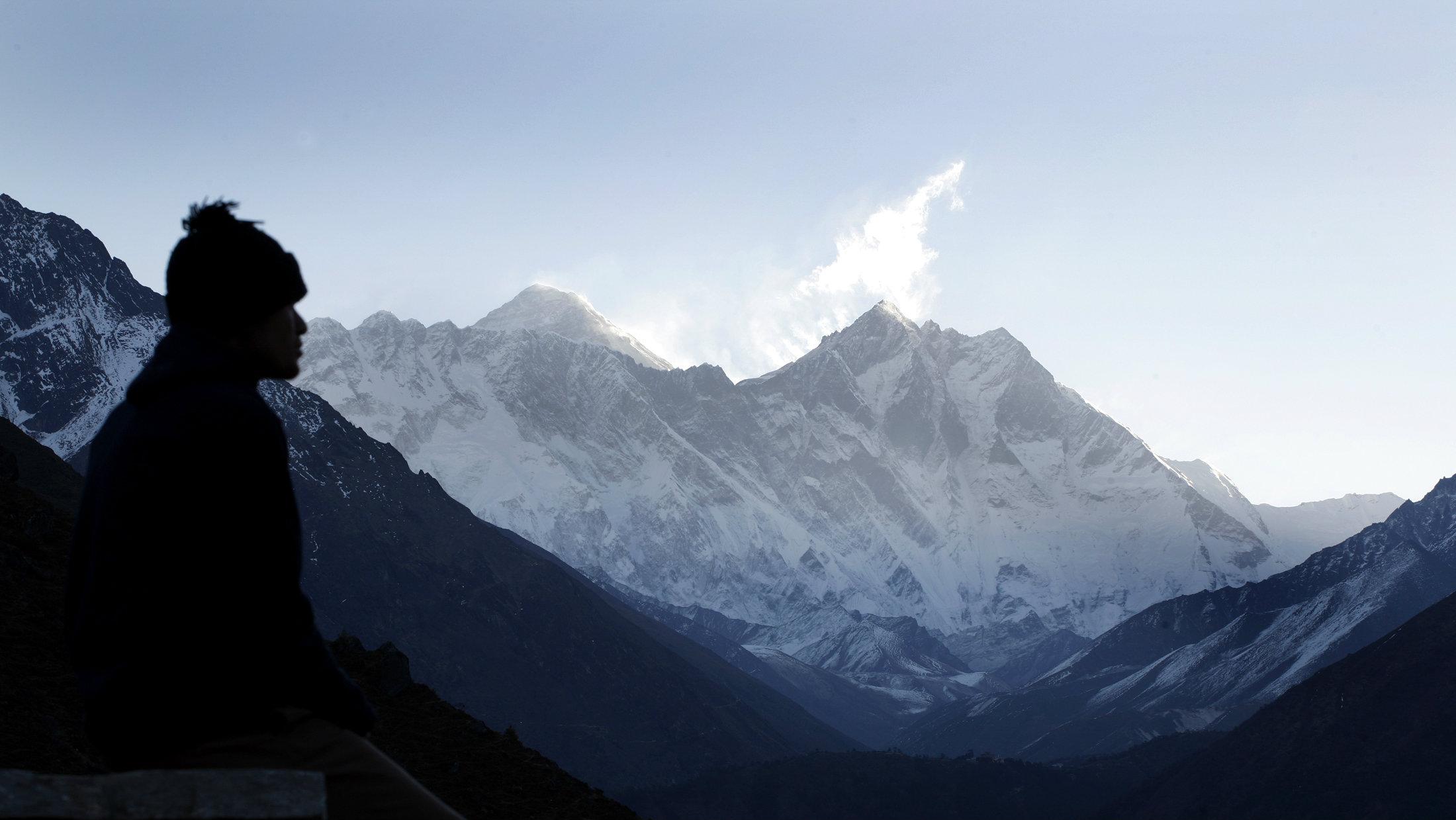 Tourist gazing at Everest