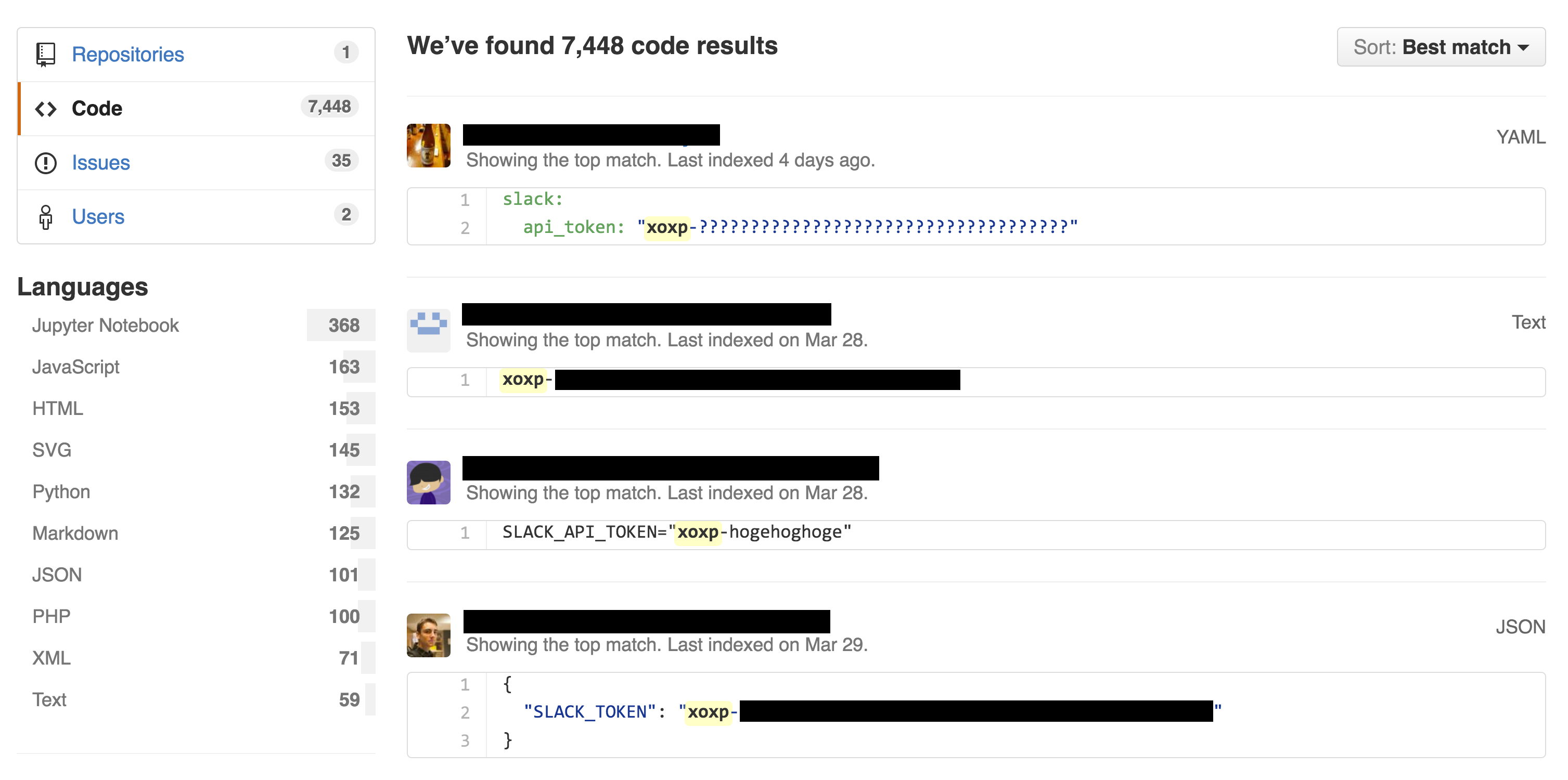 A code search on GitHub