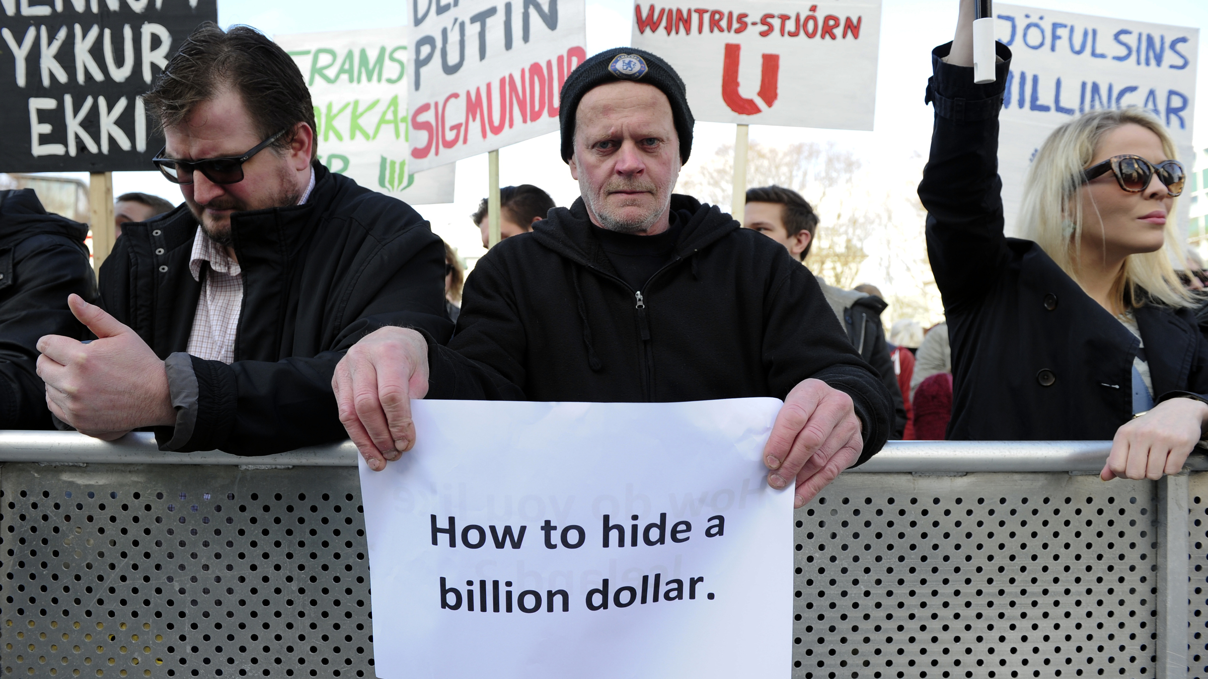 People demonstrate against Iceland's Prime Minister Sigmundur Gunnlaugsson in Reykjavik, Iceland on April 4, 2016 after a leak of documents by so-called Panama Papers stoked anger over his wife owning a tax haven-based company with large claims on the country's collapsed banks.