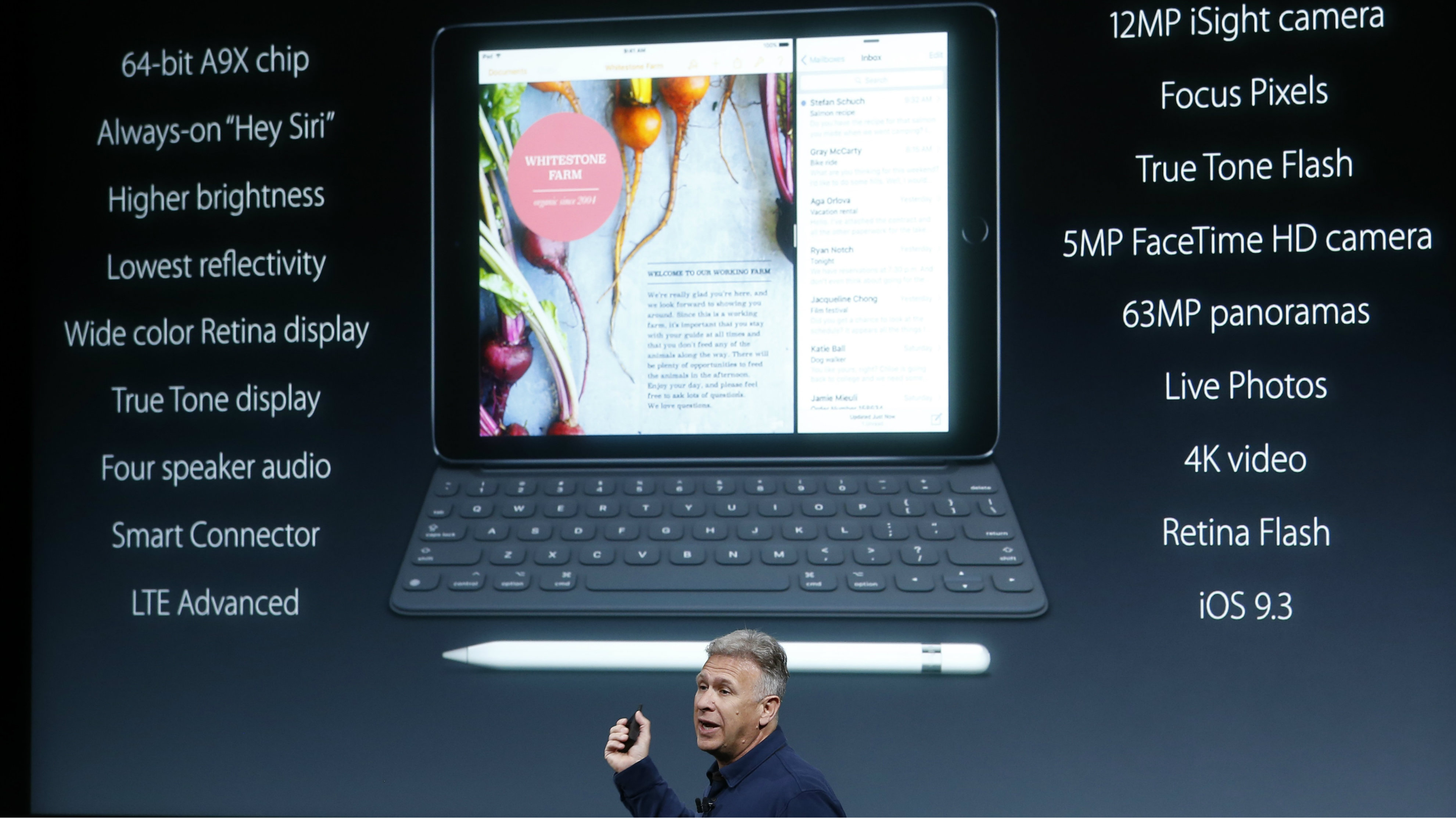 Phil Schiller, senior VP of worldwide marketing for Apple, introduces the iPad Pro with 9.7-inch display during an event at the Apple headquarters in Cupertino, California March 21, 2016. REUTERS/Stephen Lam