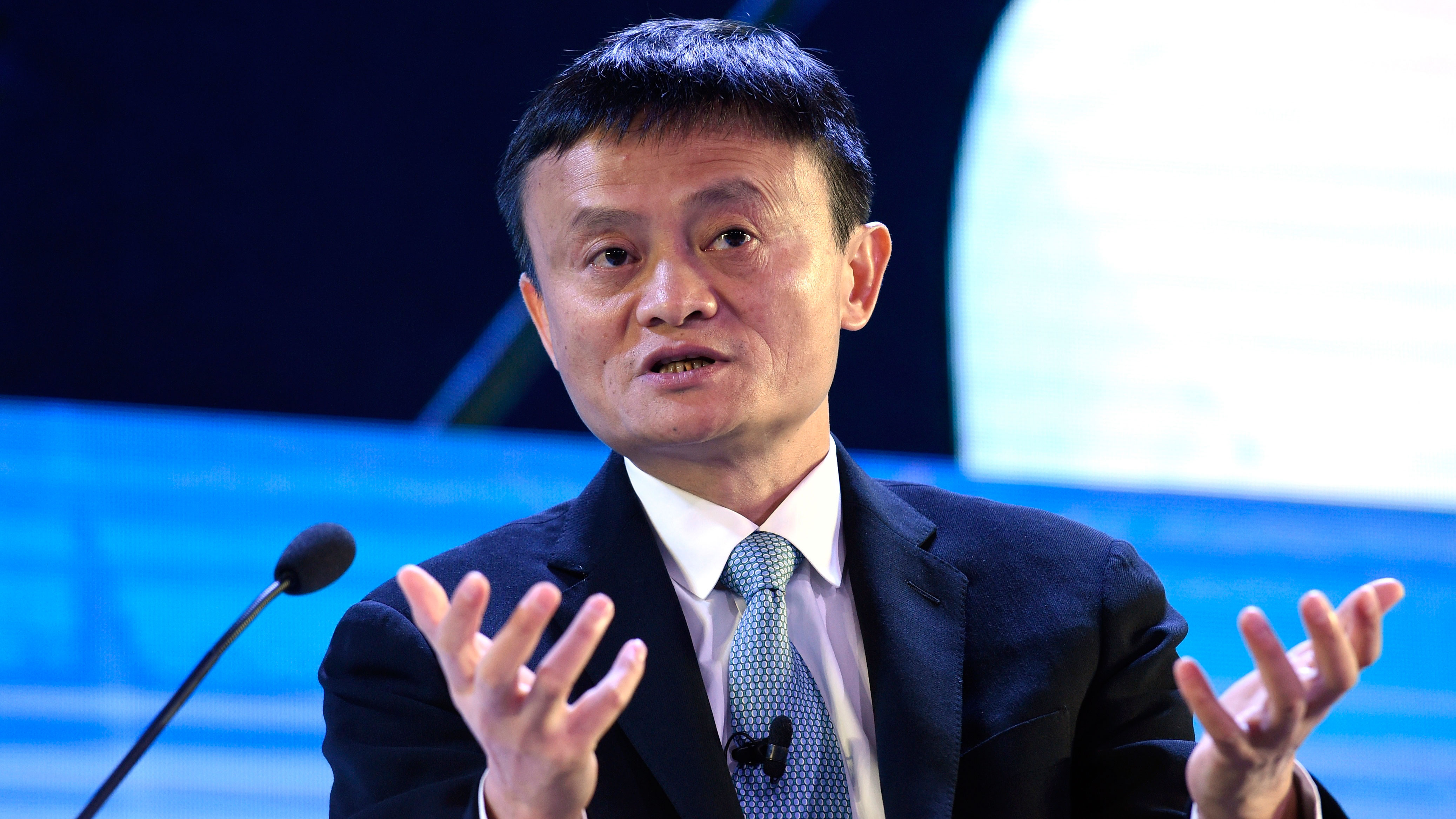 FILE - In this Nov. 18, 2015 file photo, Alibaba founder Jack Ma speaks at the CEO Summit, attended by 800 business leaders from around the region representing U.S. and Asia-Pacific companies, in Manila, Philippines, ahead of the start of the Asia-Pacific Economic Cooperation summit. An investigation by The Associated Press has found that the president of an influential anti-counterfeiting group owns Alibaba stock, has close ties to a key Alibaba vice president and uses family members to run his coalition. (AP Photo/Susan Walsh, File)