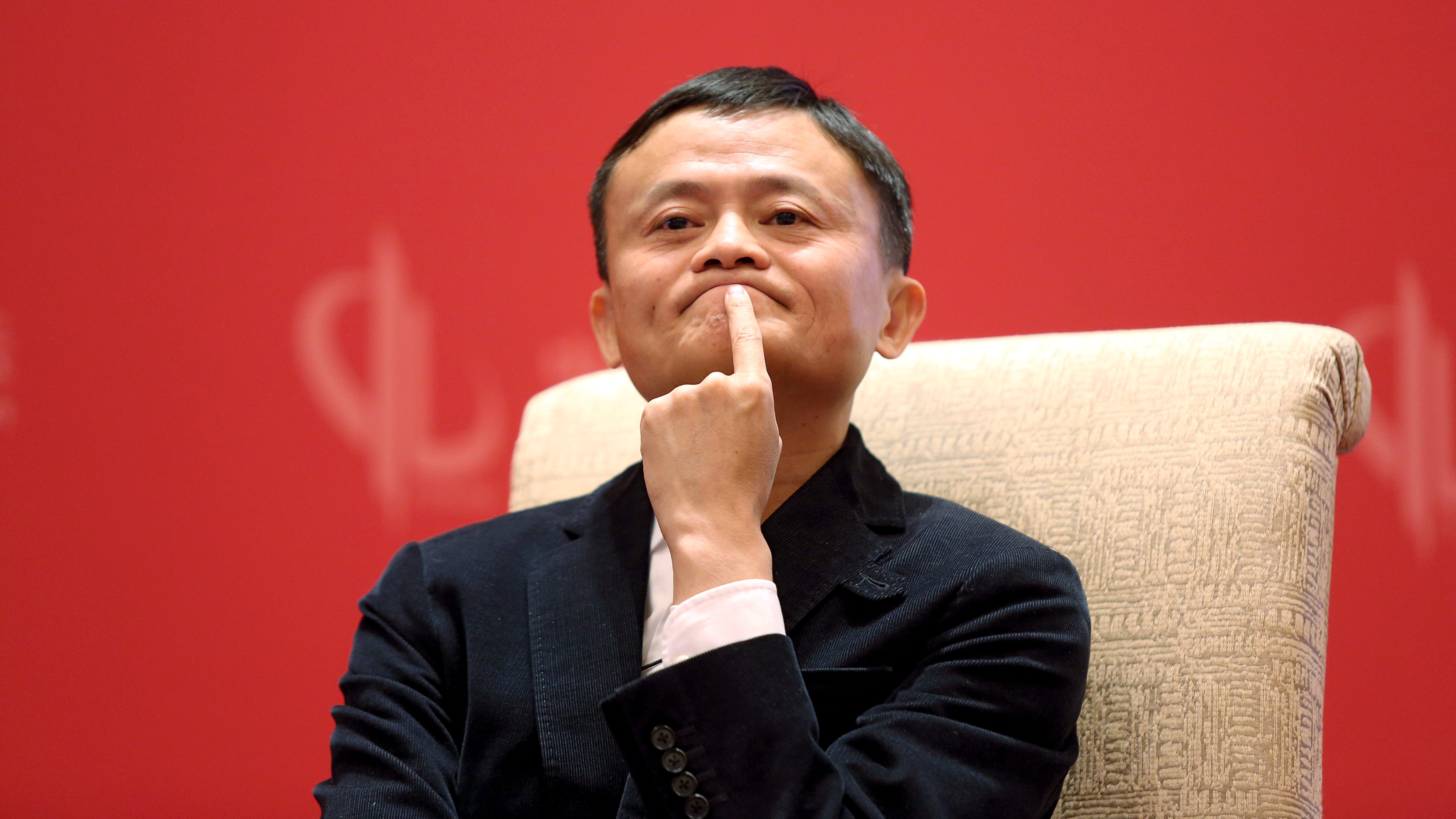 Founder and Executive Chairman of Alibaba Group Jack Ma meets Facebook founder and CEO Mark Zuckerberg (not pictured), at the China Development Forum in Beijing, China, March 19, 2016. REUTERS/Shu Zhang/File Photo - RTSERPQ