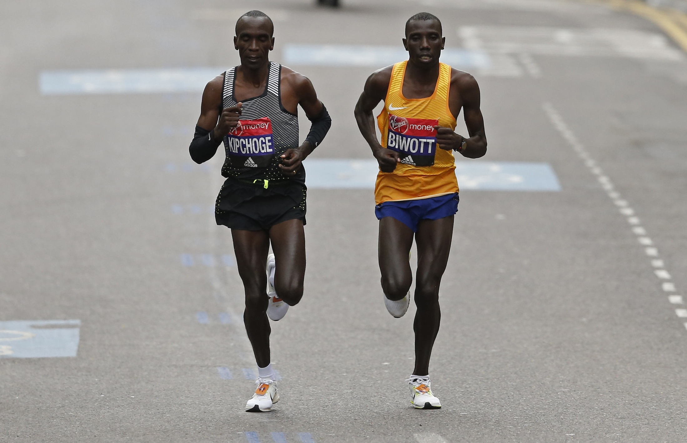 The London Marathon's first and second place winners, Eliud Kipchoge and Stanley Biwott, both from Kenya.