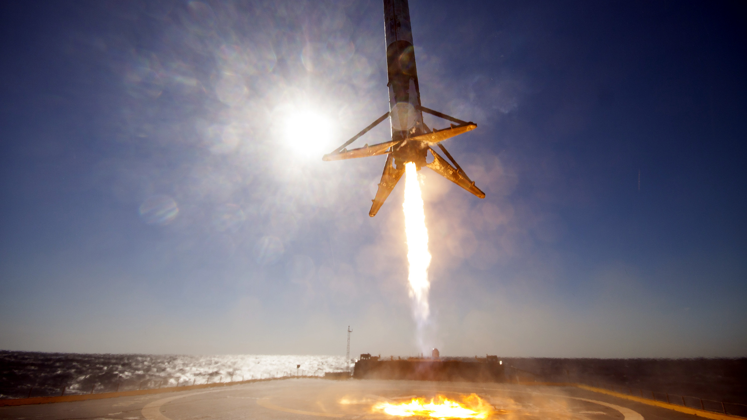 The Falcon 9 rocket booster that carried CRS-8 lands on a SpaceX floating droneship.