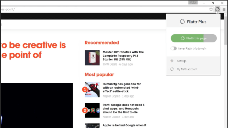 Screenshot of Flattr Plus engagement counter