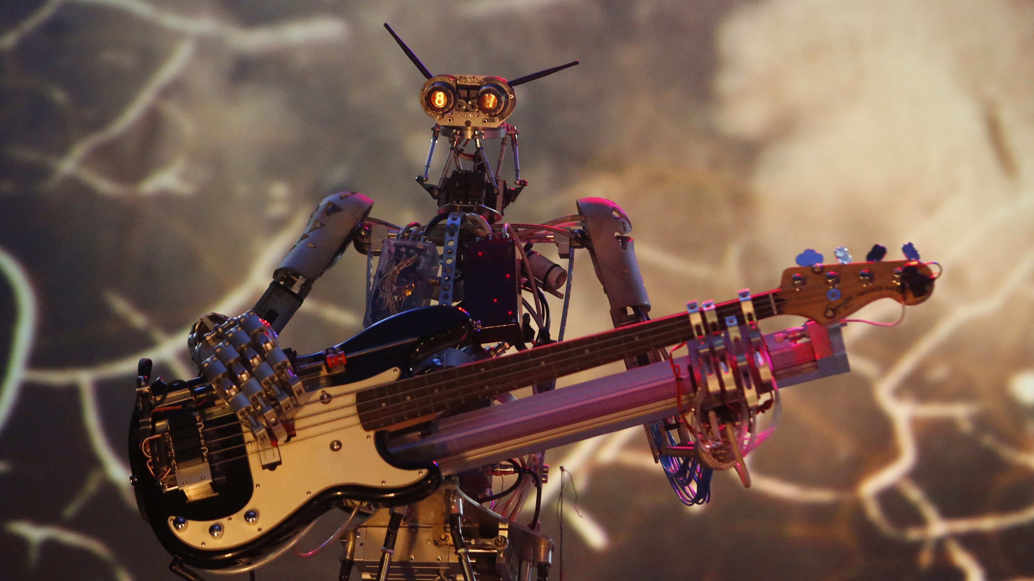 """Robot musician performs during the """"Robot Ball"""" scientific exhibition in Moscow"""