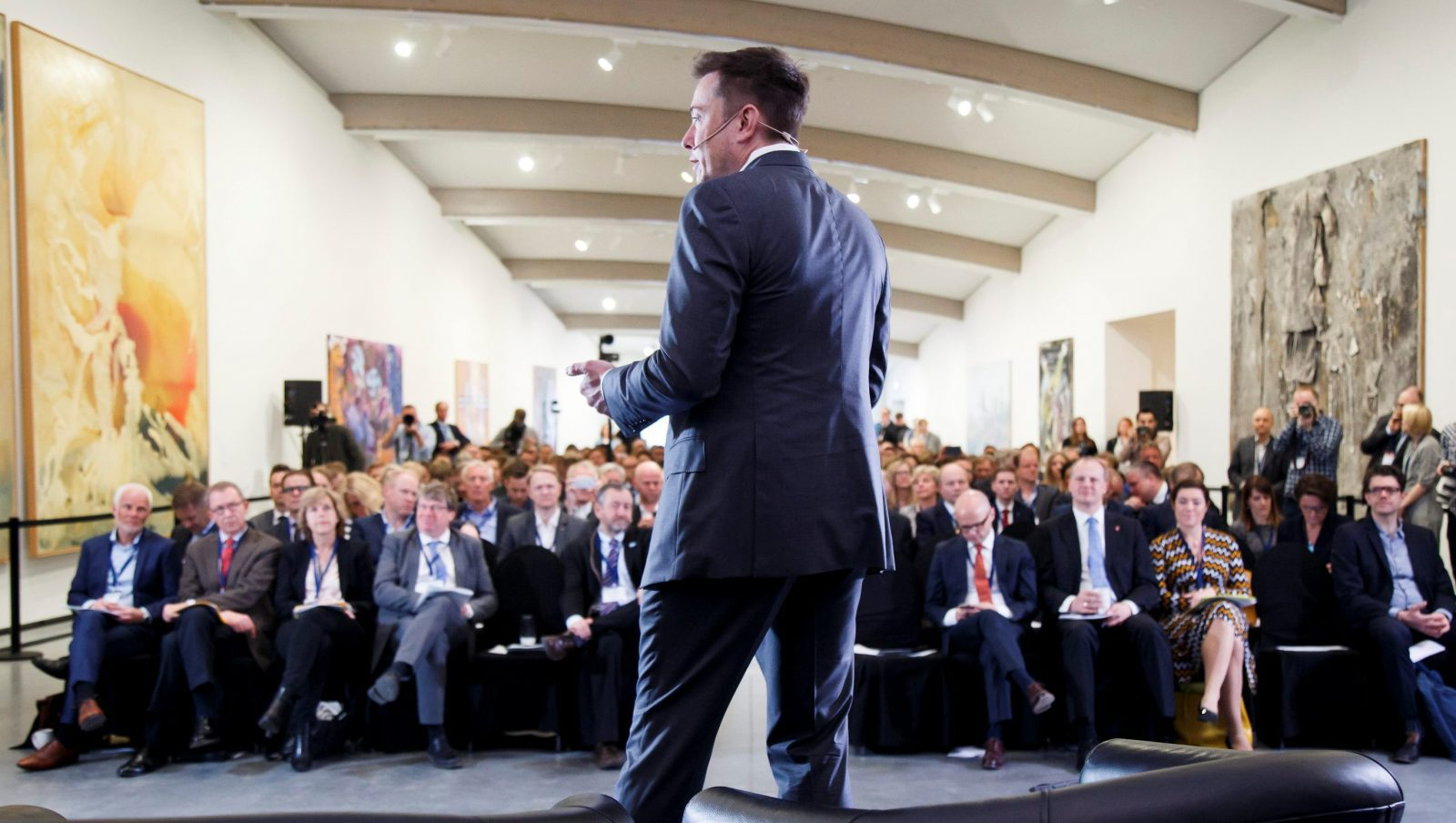 CEO of Tesla Motors Elon Musk speaks at an environmental conference at Astrup Fearnley Museum in Oslo, Norway April 21, 2016.