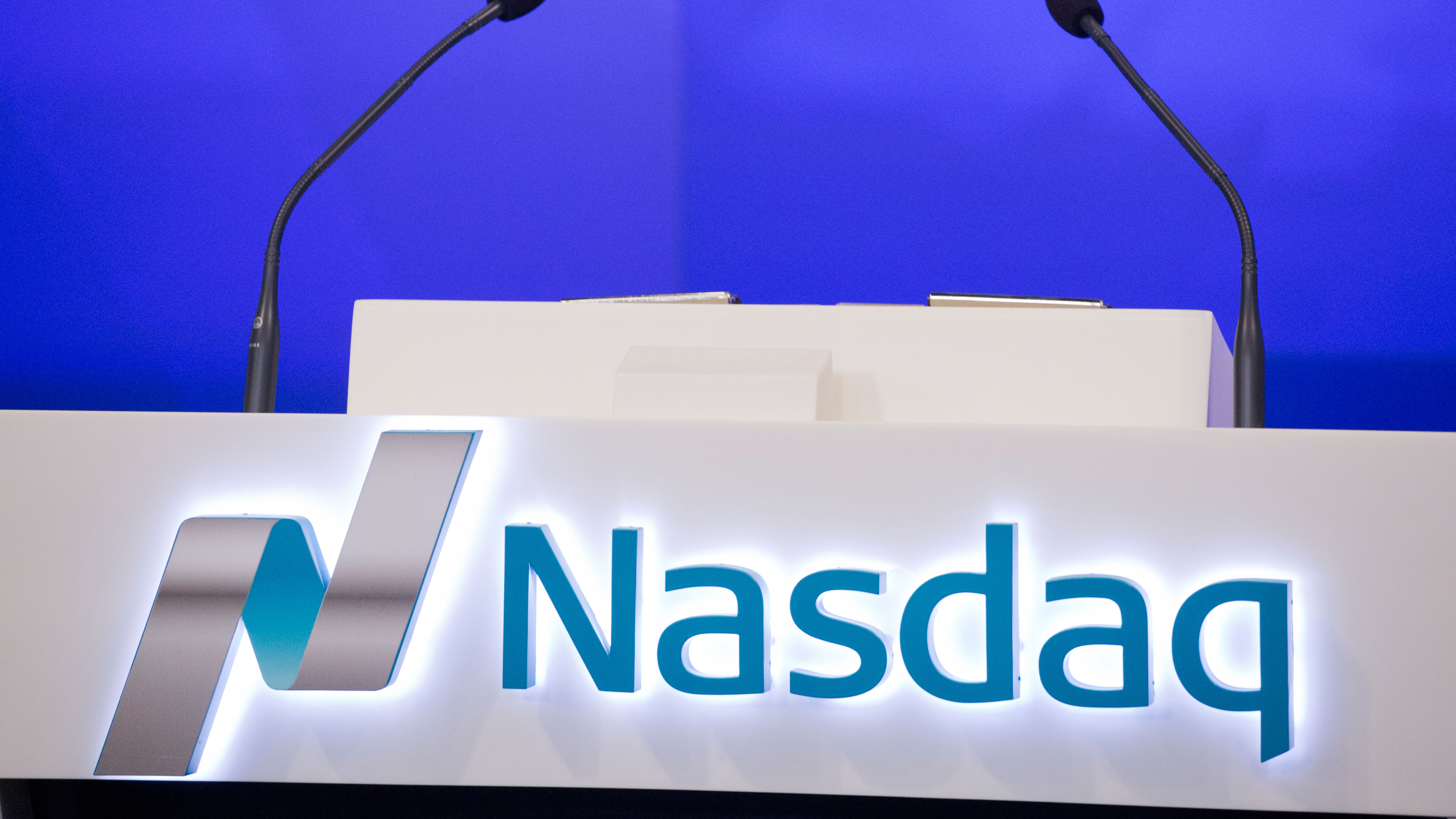 The Nasdaq logo is displayed in the electronic stock trading company's Times Square location, Monday, Nov. 30, 2015 in New York. (AP Photo/Mark Lennihan)