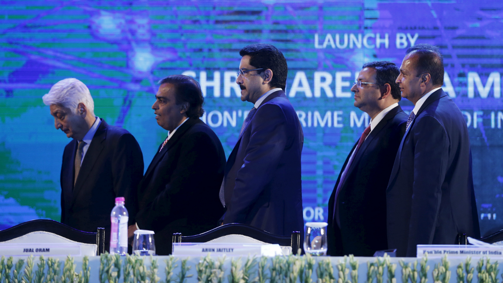 "Azim Premji, chairman of Wipro, Mukesh Ambani, chairman of Reliance Industries Limited, Kumar Mangalam Birla, chairman of Aditya Birla Group, Cyrus Mistry, chairman of Tata Group, and Anil Ambani, chairman of the Reliance Anil Dhirubhai Ambani Group (L-R) attend the launch of ""Digital India Week"" in New Delhi, India, July 1, 2015. India is reinvigorating an $18 billion campaign to provide fast internet connections for all, with a ""digital week"" aimed at popularising Prime Minister Narendra Modi's campaign promise to connect 250,000 villages in India by 2019."