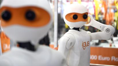'NimbRo' robots made by German company Igus on display at the International Robot Exhibition 2015 in Tokyo, Japan, 02 December 2015. Nearly 450 companies will present their latest robots until 05 December. EPA/FRANCK ROBICHON