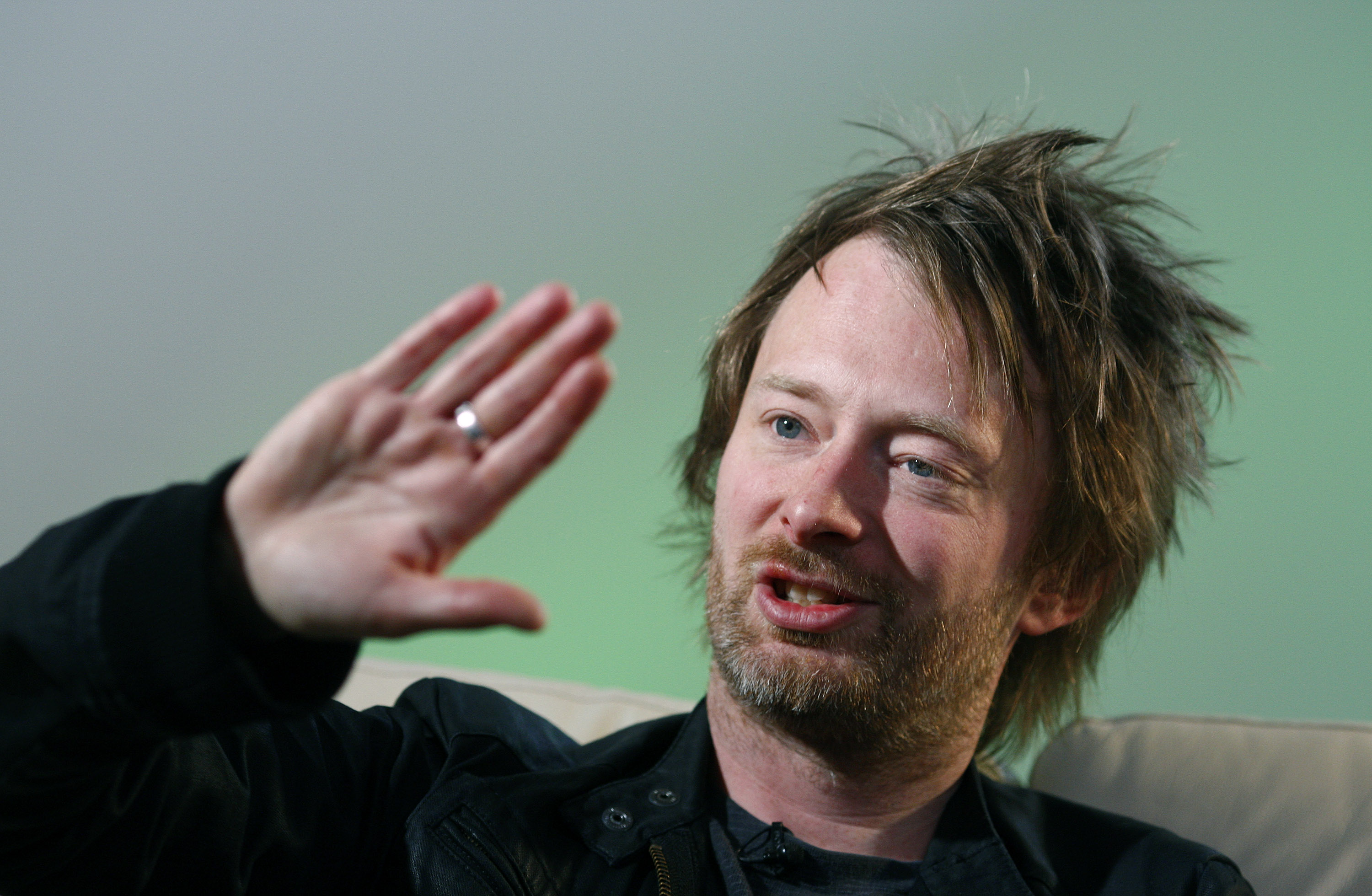 Radiohead's Thom Yorke gestures during an interview with Reuters in Maidenhead, central England