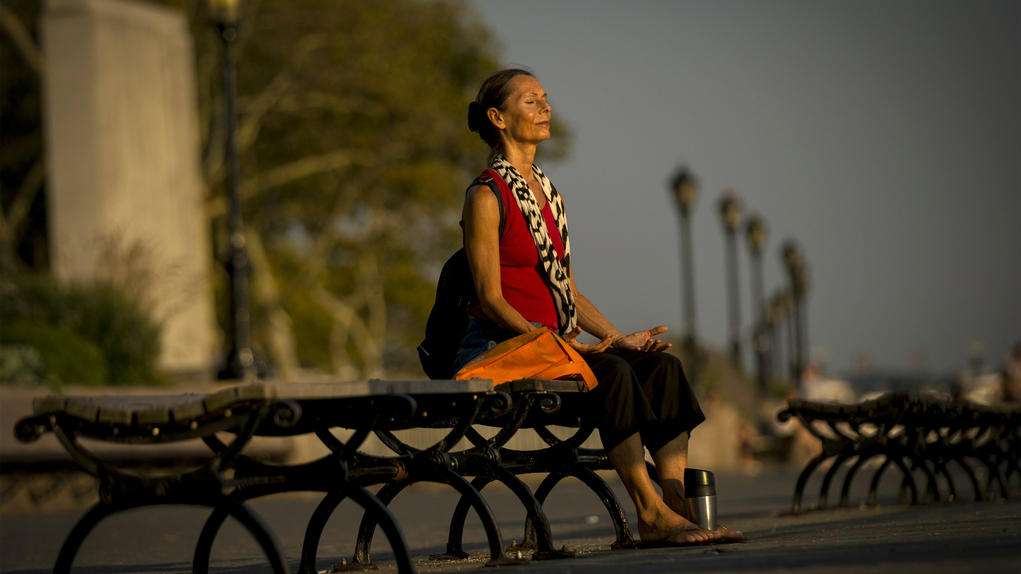 A woman takes in the sun just before sunset at the southern tip of Manhattan in New York's Battery Park, September 2, 2014. The temperature hit 92 degrees Fahrenheit (33 degree Celsius) in Central Park today for the first time in 2014.