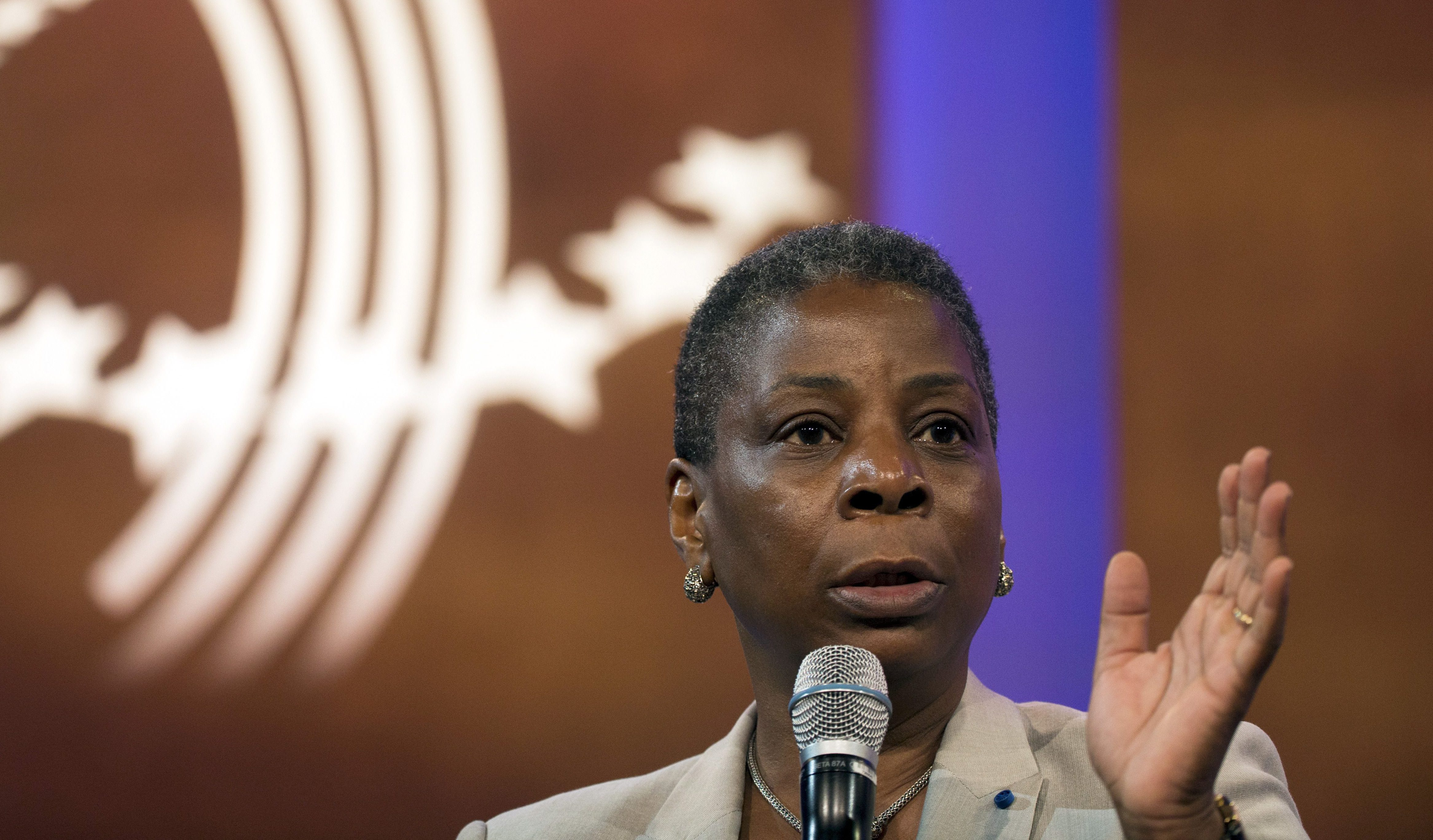 Ursula Burns, chief executive officer of Xerox Corporation, takes part in a discussion during the Clinton Global Initiative's annual meeting in New York
