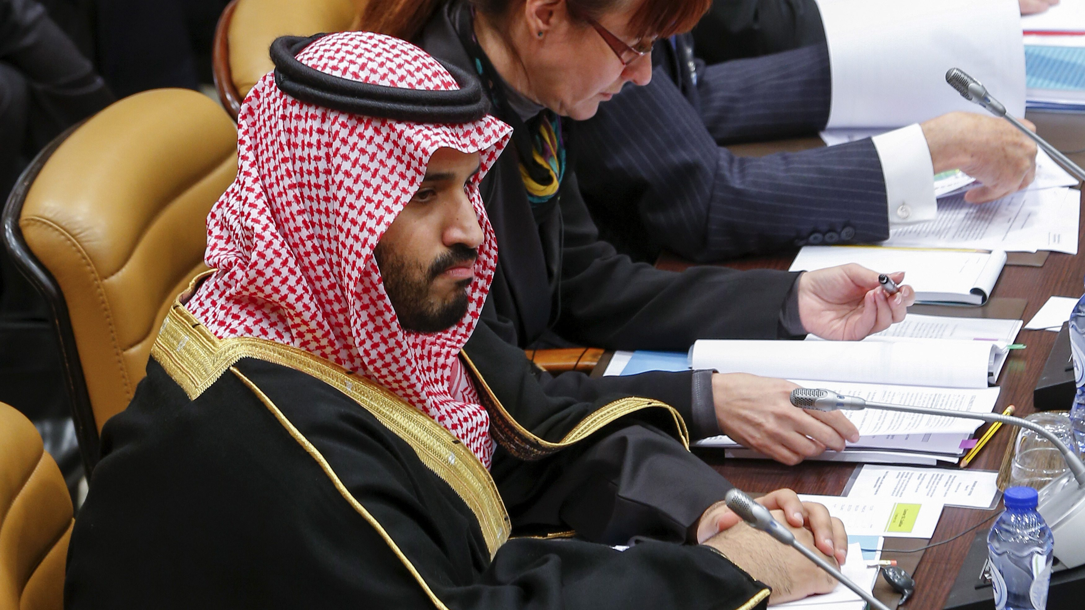 Saudi Defence Minister Prince Mohammed Bin Salman attends the first ever gathering of the Defense Ministers of the Global Coalition Against ISIL/Daesh at NATO headquarters in Brussels, Belgium, February 11, 2016. REUTERS/Yves Herman - RTX26HUO