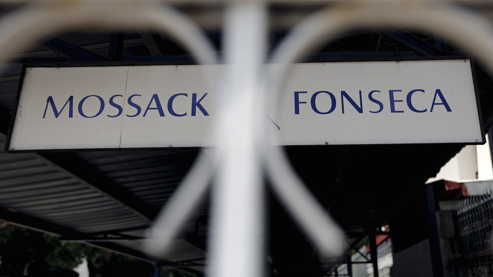 Mossack Fonseca law firm sign is pictured in Panama City, in this April 4, 2016 file photo. REUTERS/Carlos Jasso/Files - RTX29OP5