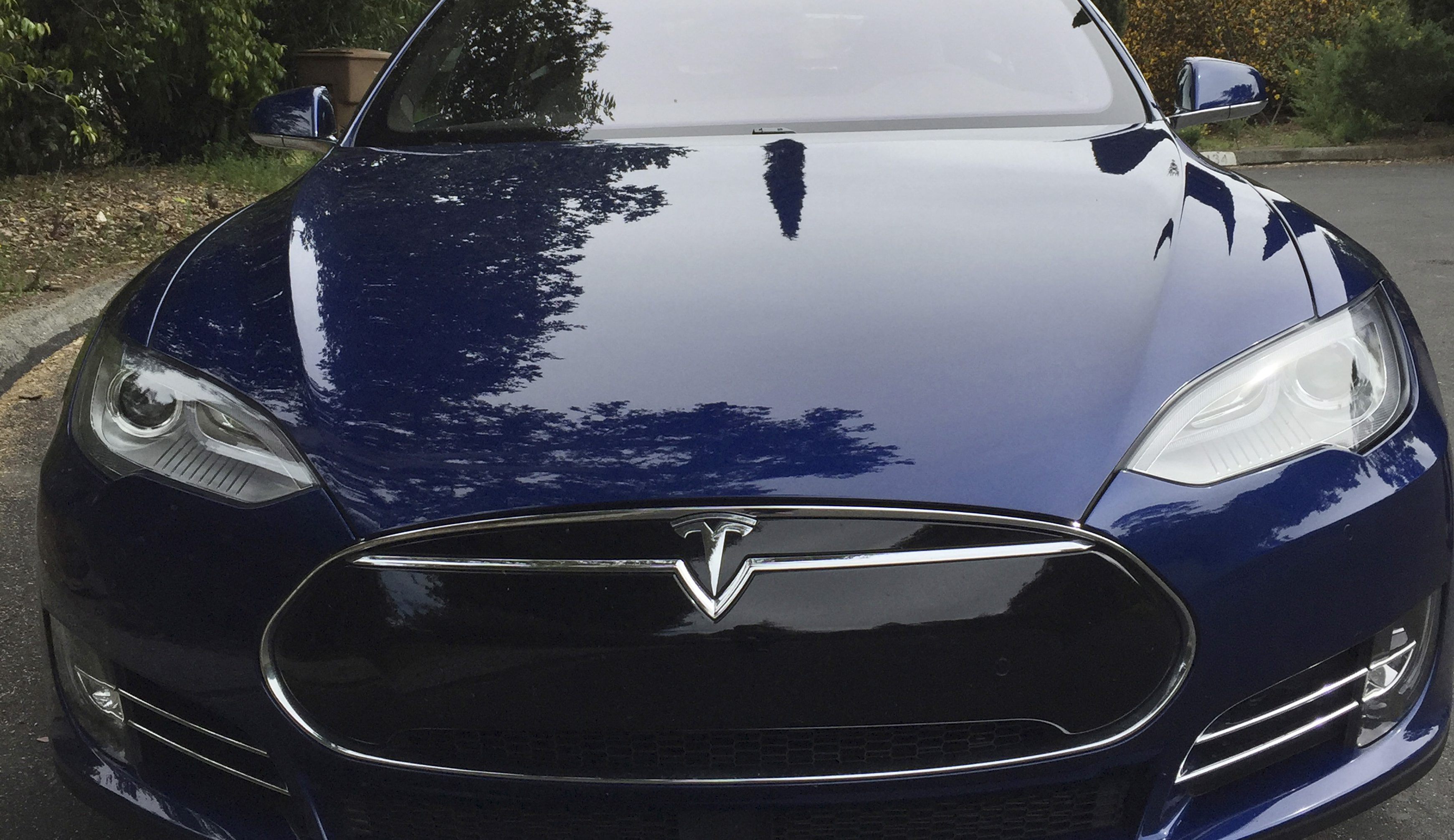 A Tesla Model electric vehicle is shown in San Francisco, California