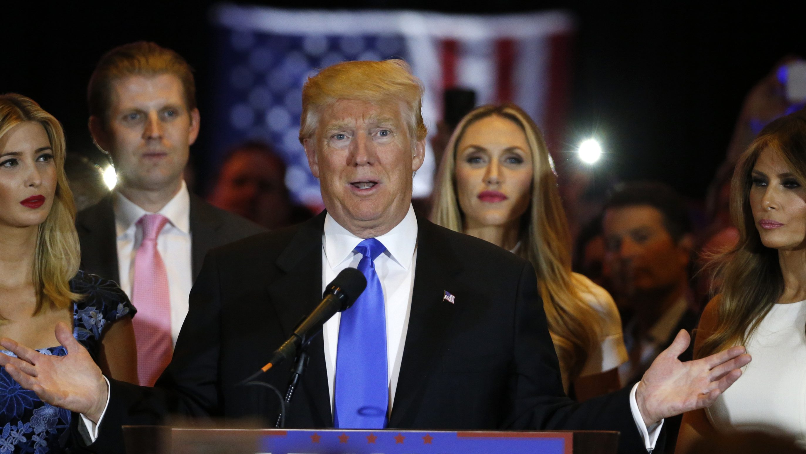 Republican U.S. presidential candidate and businessman Donald Trump speaks to supporters following the results of the Indiana state primary at Trump Tower in Manhattan, New York