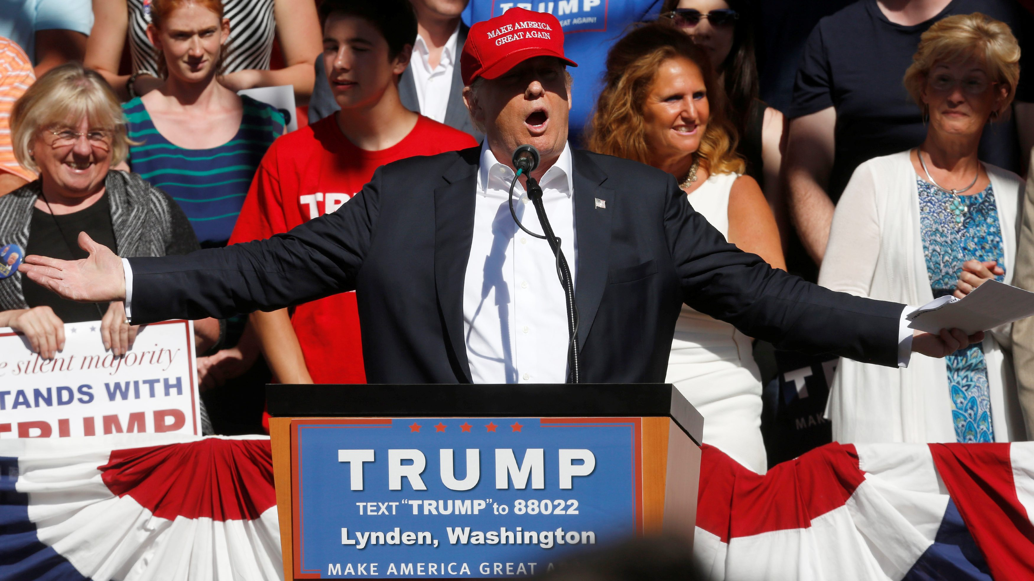 Republican U.S. presidential candidate Donald Trump speaks during a campaign rally in Lynden, Washington, U.S.