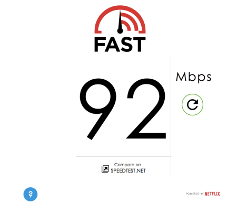 Fast.com screenshot Netflix
