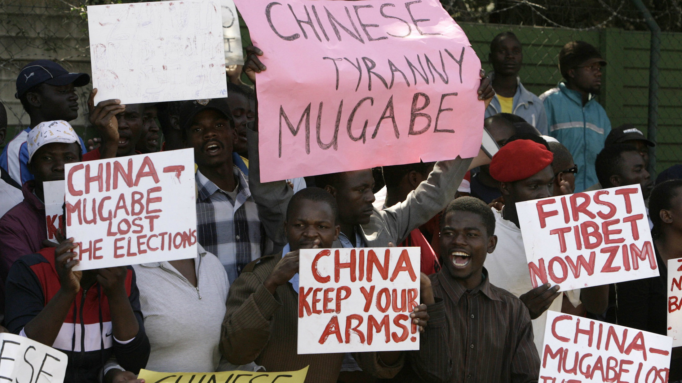 Zimbabweans protesting outside the Chinese Embassy in South Africa in 2008 over Beijing's veto of UN resolution to sanction Mugabe