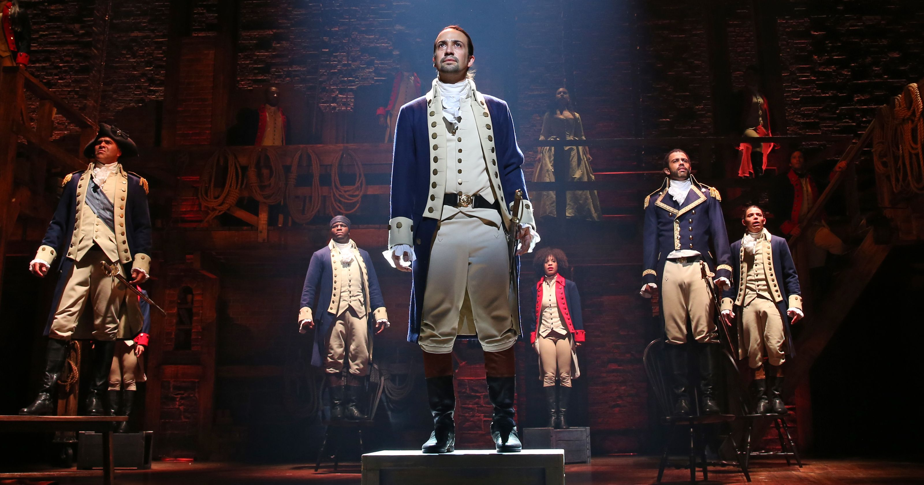 Hamilton actors perform the musical theater production on Broadway
