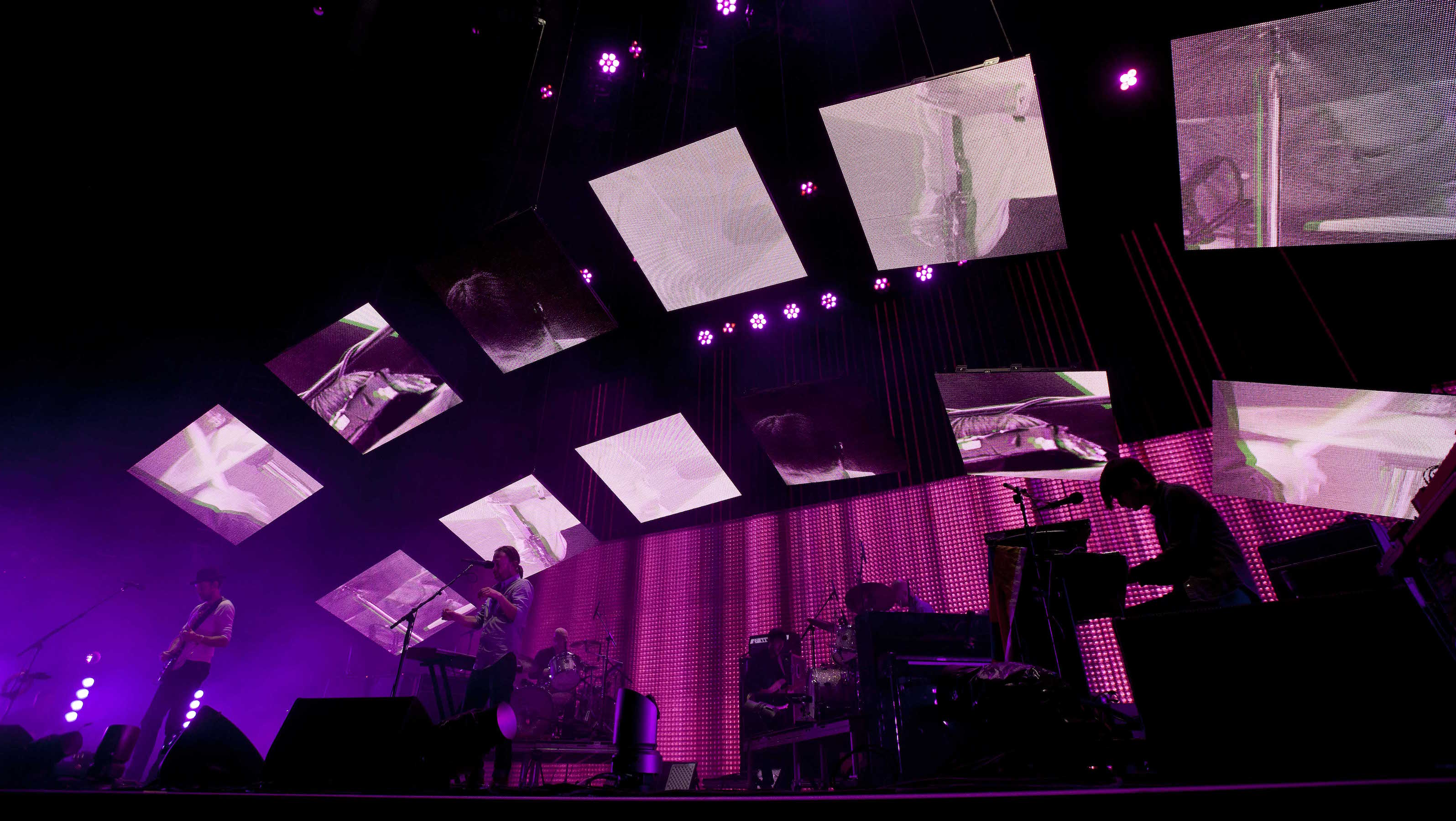 Radiohead performs during the Bonnaroo Music and Arts Festival in Manchester, Tenn., Friday, June 8, 2012. (AP Photo/Dave Martin)