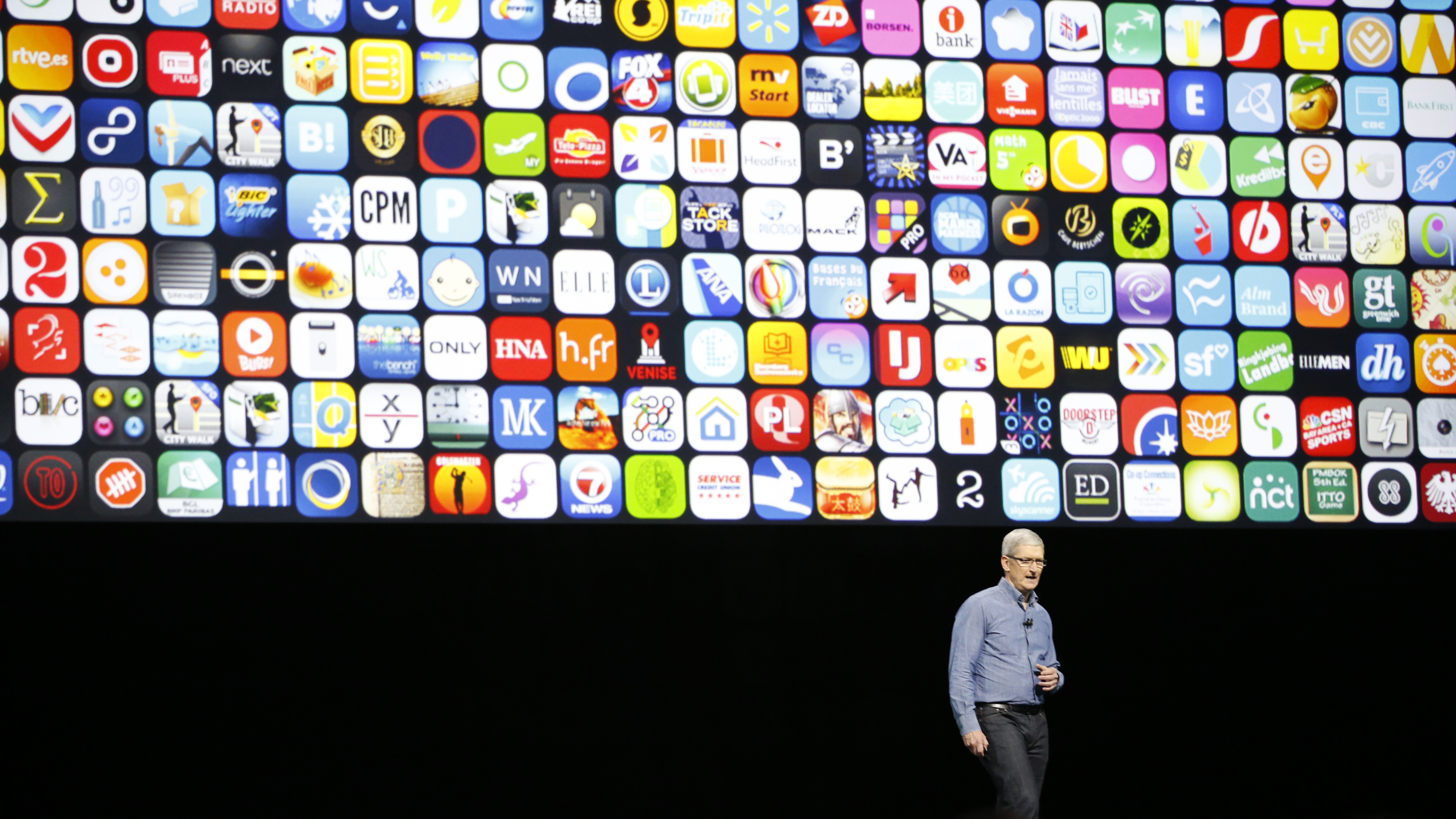 Apple CEO Tim Cook speaks about Swift Playgrounds young developers app at the Apple Worldwide Developers Conference in the Bill Graham Civic Auditorium, San Francisco, Monday, June 13, 2016. (AP Photo/Tony Avelar)