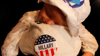 baby with hillary pin