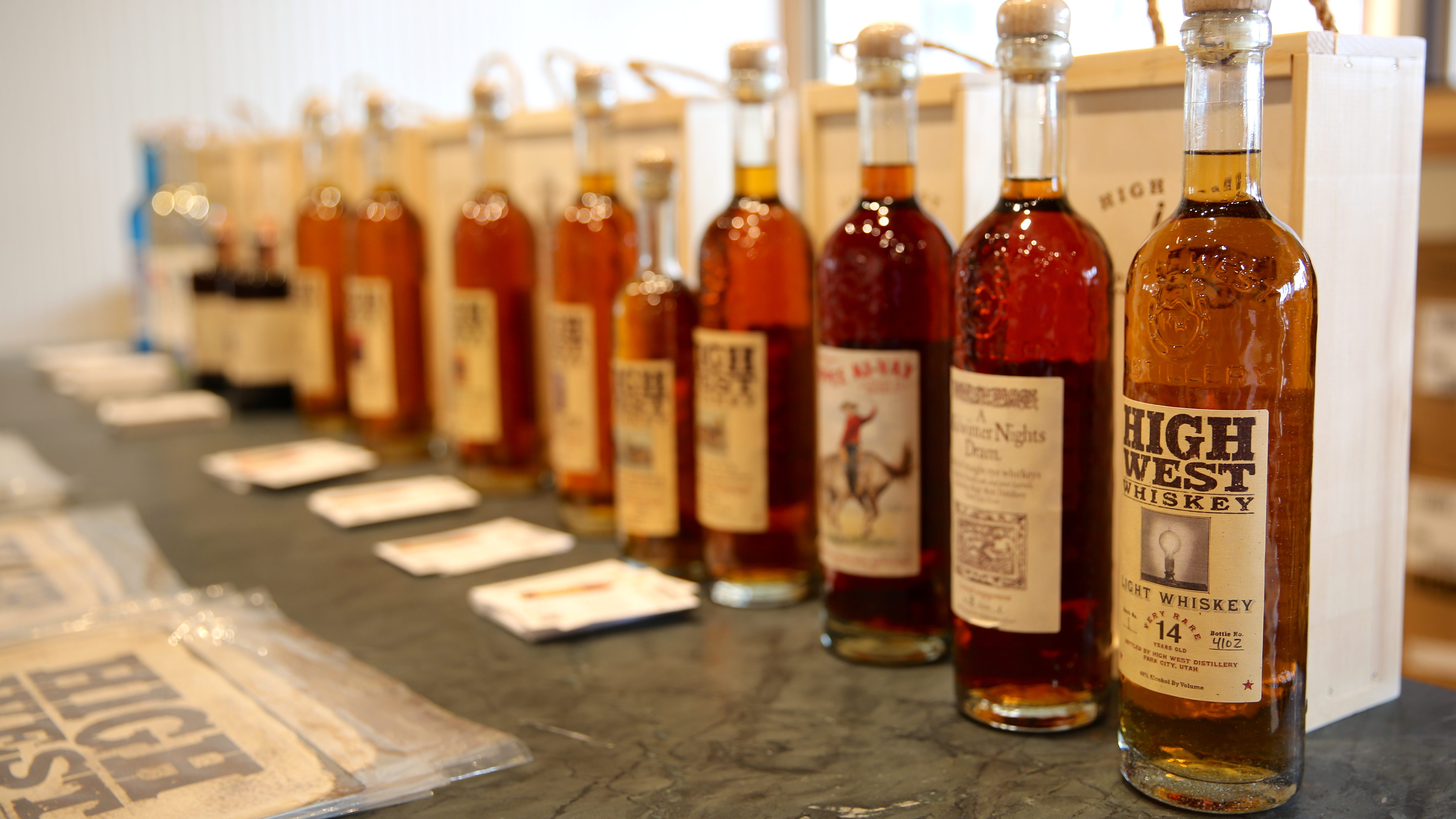Bottles of High West whiskey.