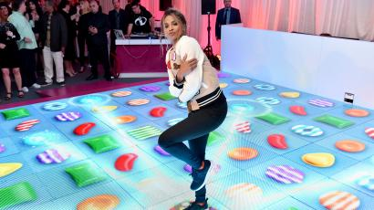 "IMAGE DISTRIBUTED FOR KING DIGITAL - Ciara joins King Digital Entertainment at the Primary Wave Pre-Grammy party to unveil a one-of-a-kind interactive ""jelly"" dance floor to celebrate the launch of Candy Crush Jelly Saga on Sunday, Feb. 14, 2016, in Los Angeles. (Photo by Jordan Strauss/Invision for King Digital/AP Images)"