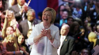 Democratic U.S. presidential candidate Hillary Clinton reacts as she arrives to speak during her California primary night rally held in the Brooklyn borough of New York June 7, 2016.