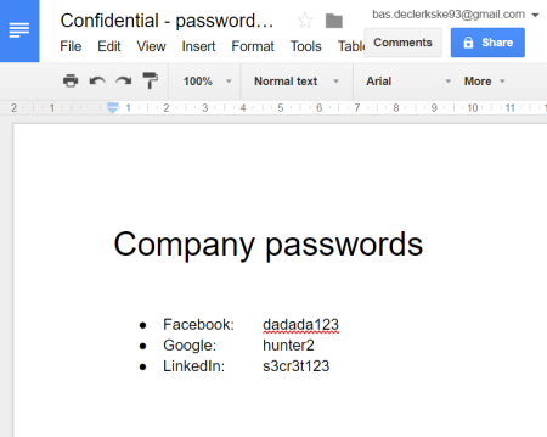 confidential google doc