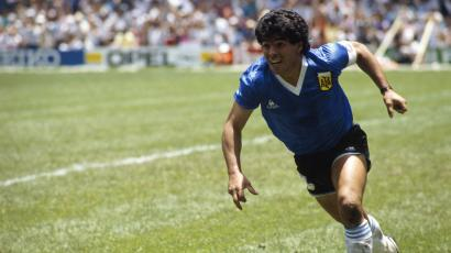 Diego Maradona from Argentina celebrates after scoring his second goal against England in a quarterfinal match of the 1986 FIFA World Cup. (Photo by Jean-Yves Ruszniewski/Corbis/VCG via Getty Images)