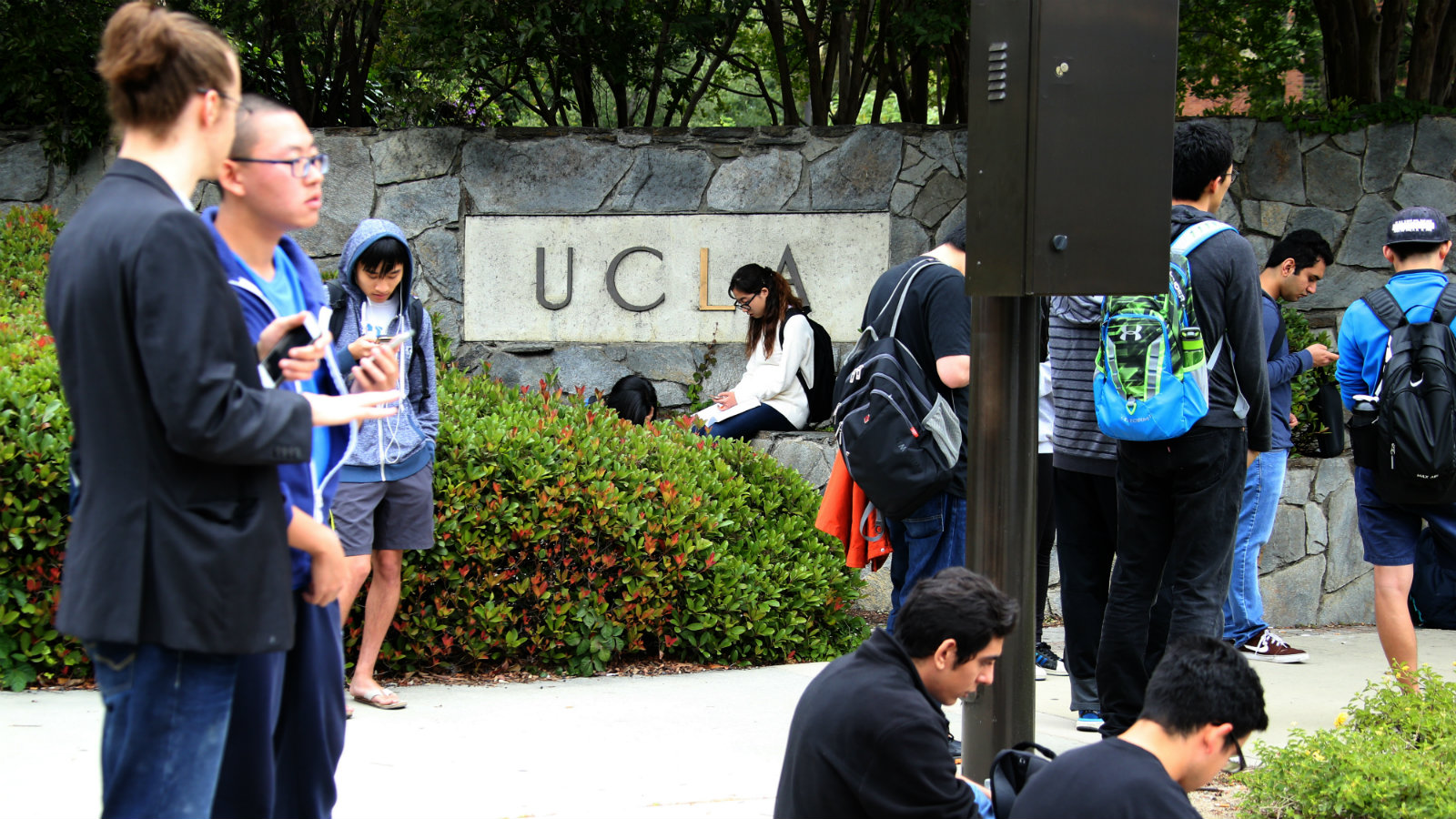 Students gather together during a lockdown at the University of California at Los Angeles campus where a shooting took place in Los Angeles, California, USA, 01 June 2016. Latest reports indicated two people were killed and law enforcement is treating the incident as a murder-suicide situation.