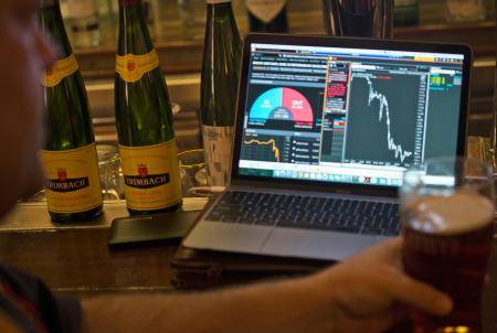 A British expat watches the British pound fall after the United Kingdom's EU Referendum results come in live on his laptop computer in Hong Kong, China, June 24. (EPA/Alex Hofford)