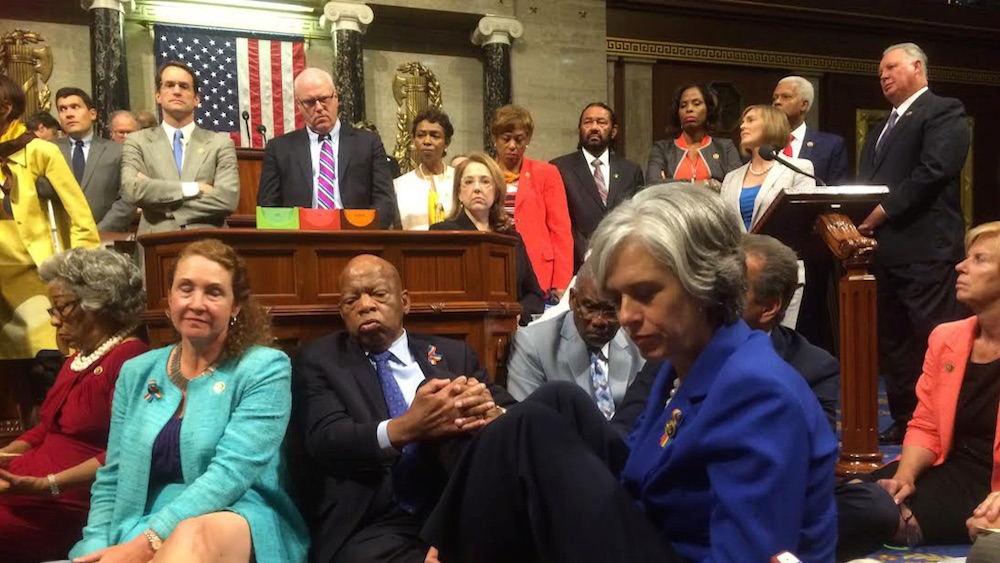 Democrats vow to continue the sit-in even as Republicans adjourn until July 5.