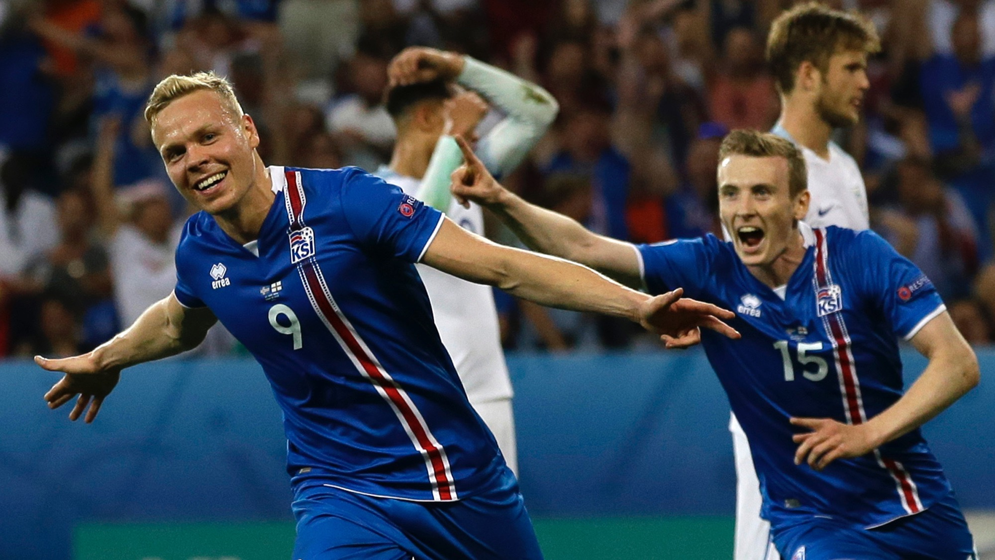 Iceland's Kolbeinn Sigthorsson celebrates after scoring his side's second goal during the Euro 2016 round of 16 soccer match between England and Iceland, at the Allianz Riviera stadium in Nice, France, Monday, June 27, 2016. (AP Photo/Claude Paris)