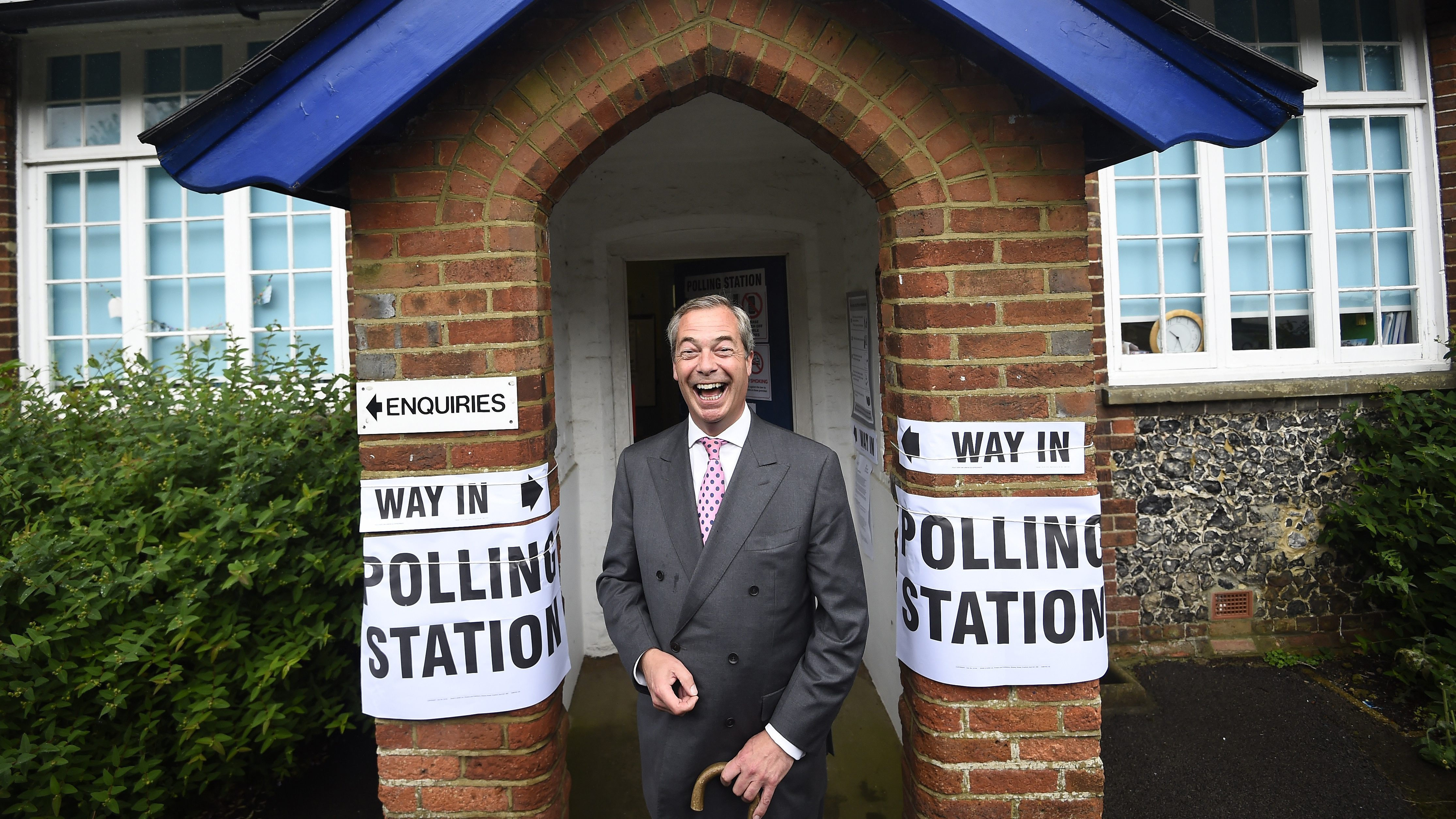 Nigel Farage, the leader of the United Kingdom Independence Party, arrives to vote in the EU referendum at a polling station in Biggin Hill