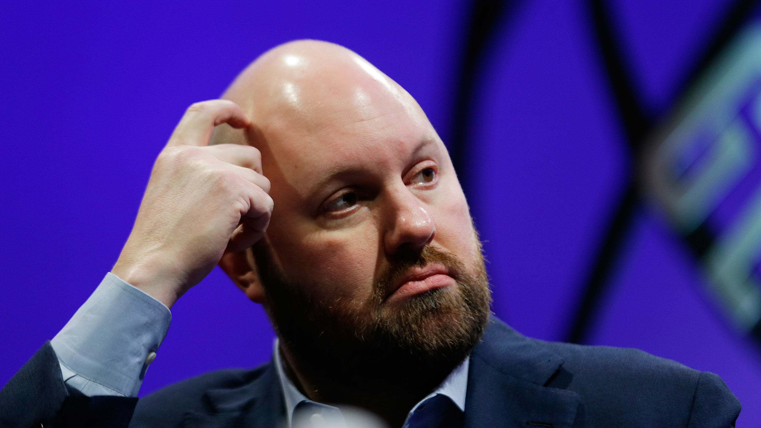 Tech venture capitalist Marc Andreessen during a discussion called The Now and Future of Mobile at the Fortune Global Forum Tuesday, Nov. 3, 2015, in San Francisco. (AP Photo/Eric Risberg)