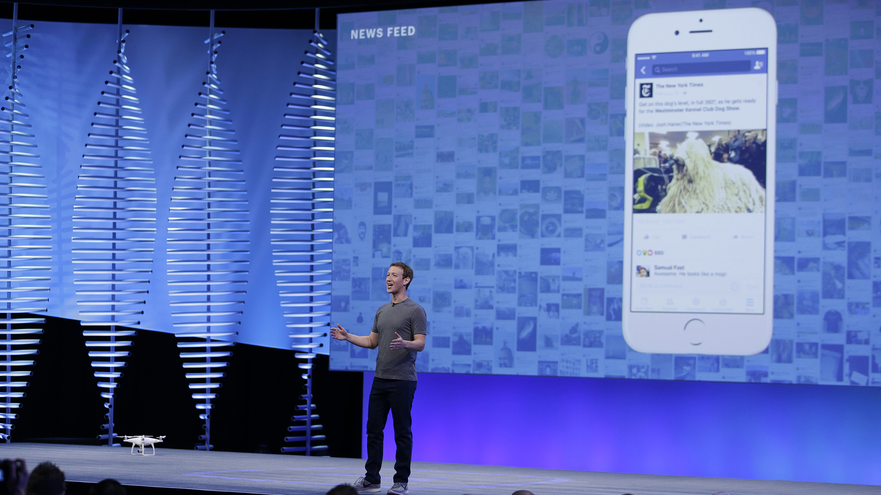"""Facebook CEO Mark Zuckerberg during the keynote address at the F8 Facebook Developer Conference Tuesday, April 12, 2016, in San Francisco. Facebook says people who use its Messenger chat service will soon be able to order flowers, request news articles and talk with businesses by sending them direct text messages. At its annual conference for software developers, Zuckerberg said the company is releasing new tools that businesses can use to build """"chat bots,"""" or programs that talk to customers in conversational language. (AP Photo/Eric Risberg)"""