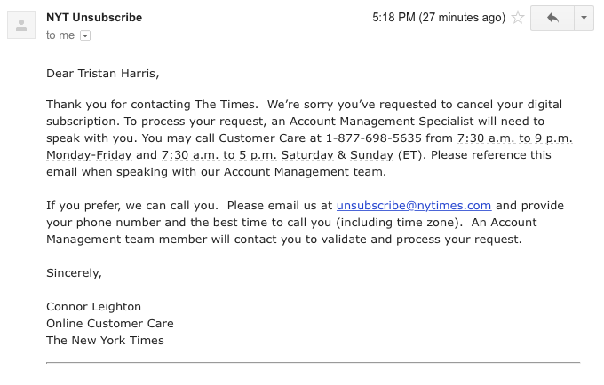 nyt unsubscribe