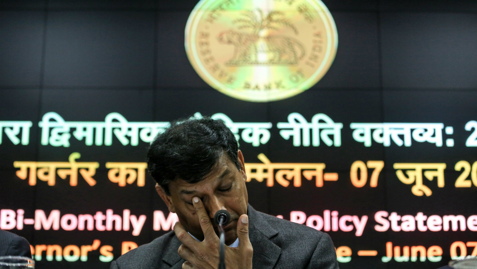 Raghuram Rajan, Governor of the Reserve Bank of India (RBI), reacts a media conference after the second bi-monthly monetary policy statement 2016-17 at the RBI head office, in Mumbai, India, 07 June 2016. According to reports, the Reserve Bank of India (RBI) kept the repo rate unchanged at 6.5 per cent. The repo rate is the discount rate at which central banks repurchase government securities from commercial banks.