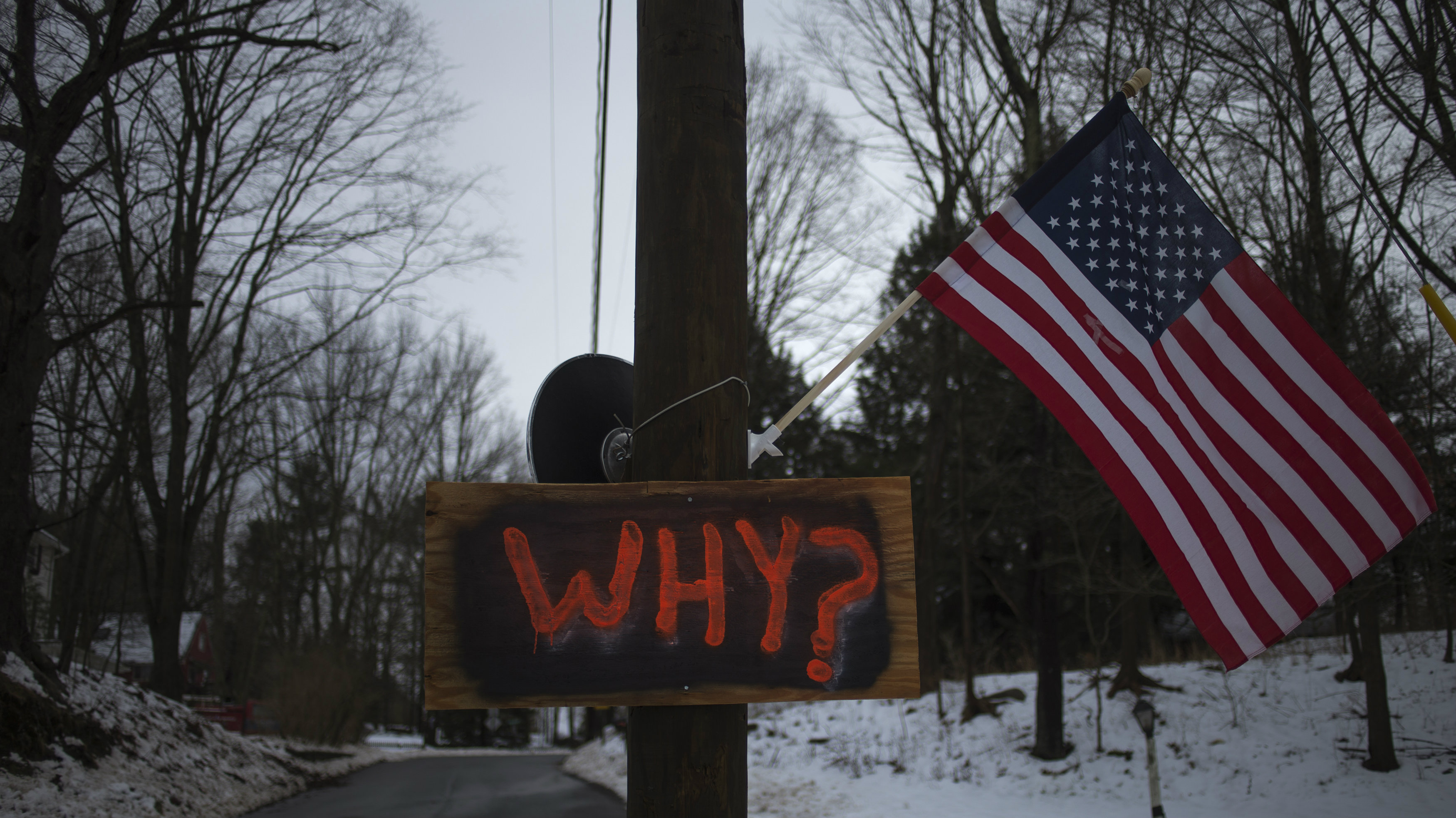 A sign is posted on an electricity pole outside a house near Sandy Hook Elementary School, nearly two weeks after a gunman shot dead 20 students and six adults, in Newtown, Connecticut December 27, 2012.