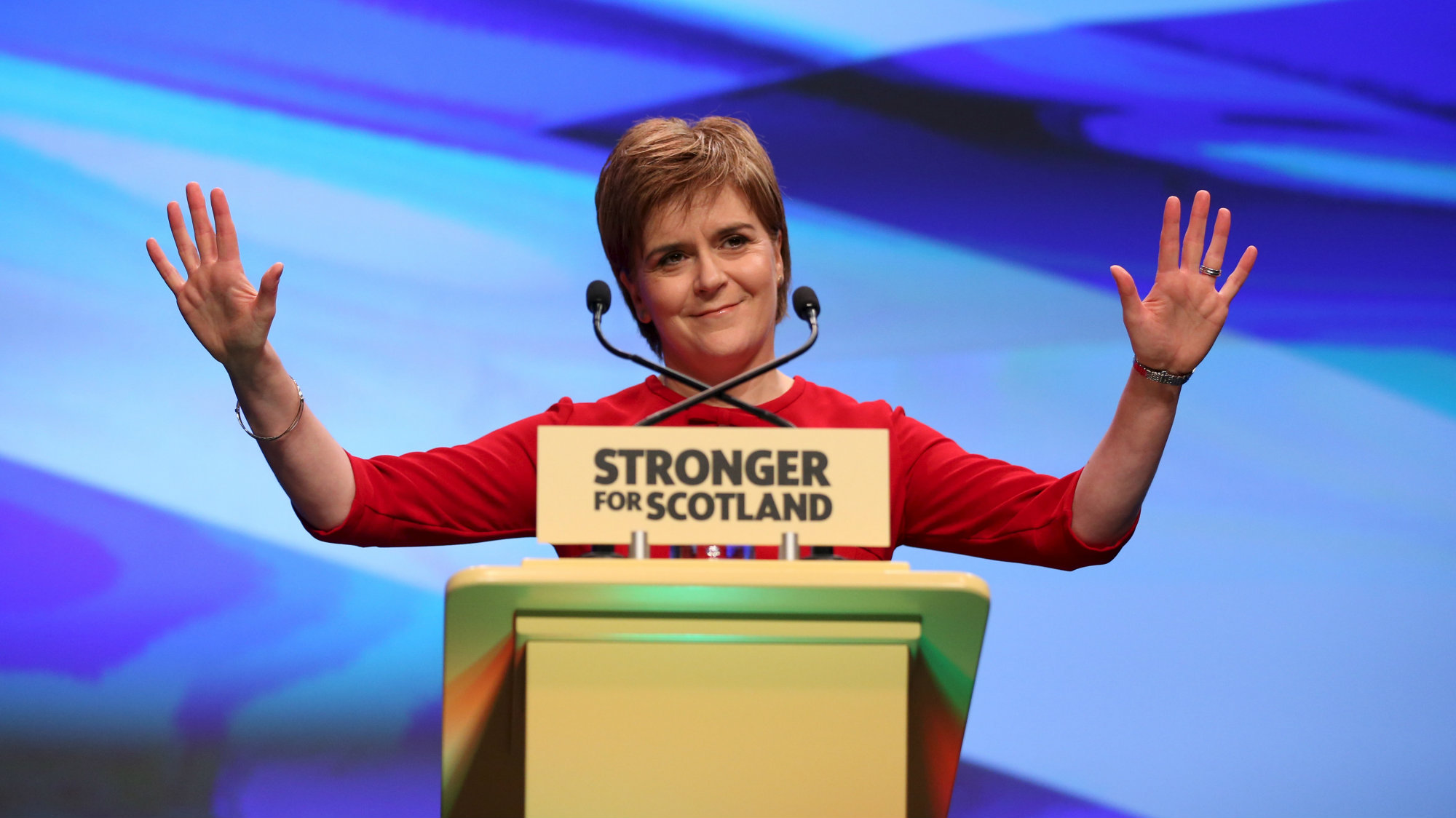 Scotland's First Minister and leader of the Scottish National Party (SNP) Nicola Sturgeon acknowledges delegates at the party's annual conference in Aberdeen, Scotland, October 17, 2015.