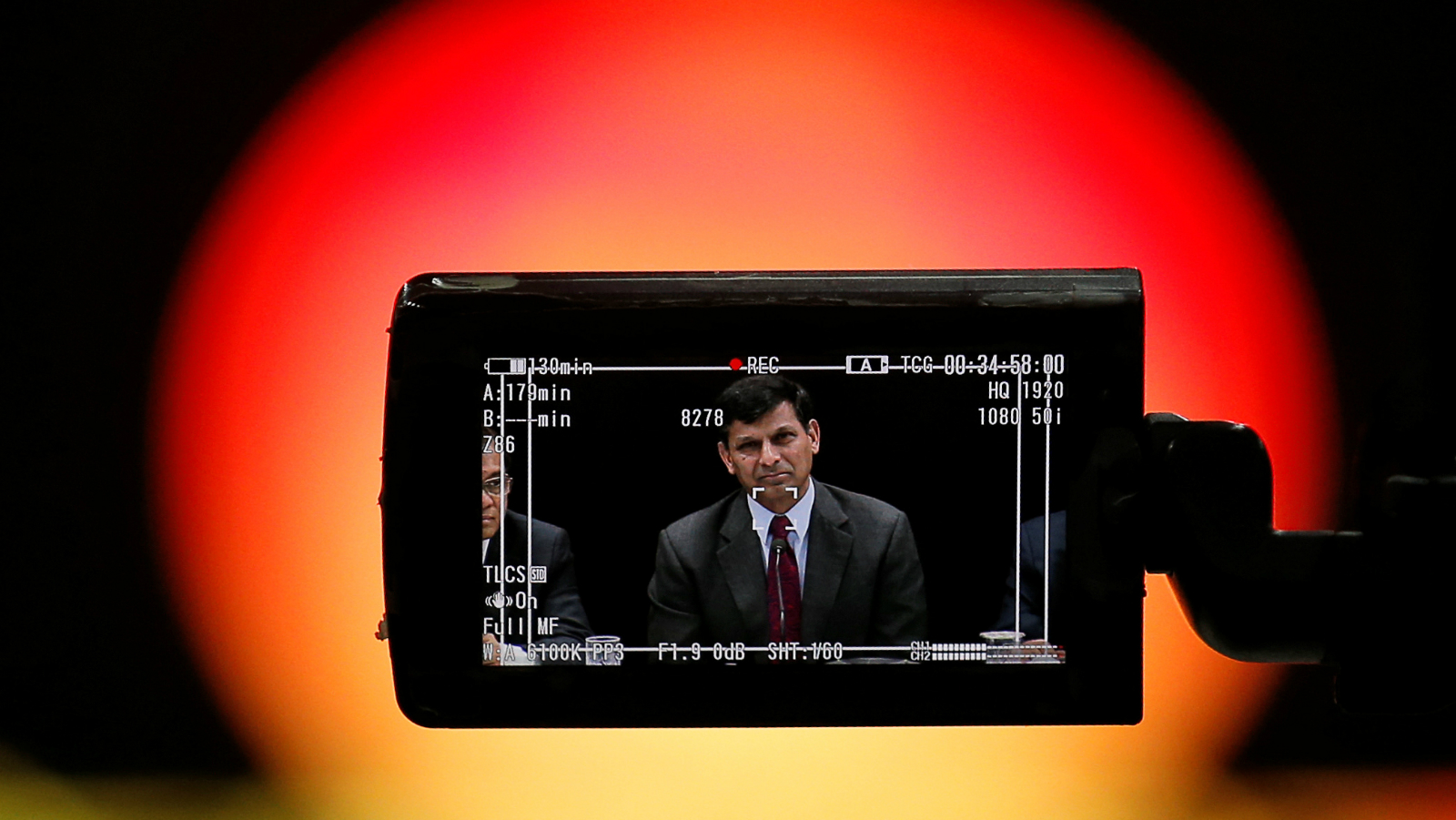 Reserve Bank of India (RBI) Governor Raghuram Rajan is seen in a TV camera's viewfinder as he attends a news conference after the bimonthly monetary policy review in Mumbai, India June 7, 2016.