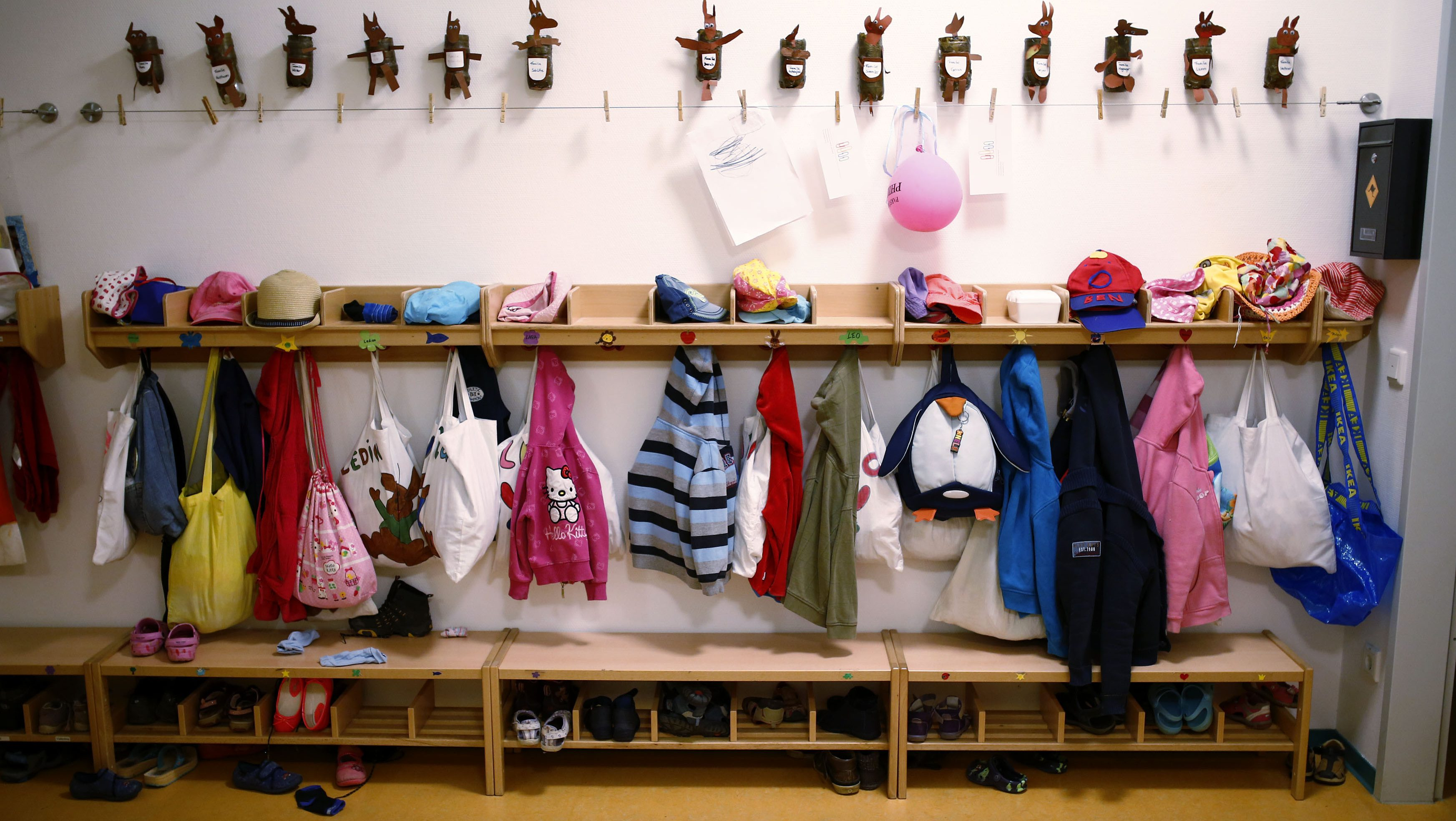The wardrobe of one of four groups is seen inside the Kathinka-Platzhoff-Stiftung Kindergarten (Kathinka-Platzhoff-foundation kindergarden) in Hanau, 30km (18 miles) south of Frankfurt, July 16, 2013. From August 1, 2013, all children in Germany between the age of 1 and 3 will have a legal entitlement to a place at a kindergarten. The Kindergarten of the Kathinka-Platzhoff-Stiftung is one of few which hosts children between the age of six month and six years.  Picture taken July 16. REUTERS/Kai Pfaffenbach (GERMANY - Tags: POLITICS BUSINESS EMPLOYMENT SOCIETY EDUCATION) - RTX11YE3