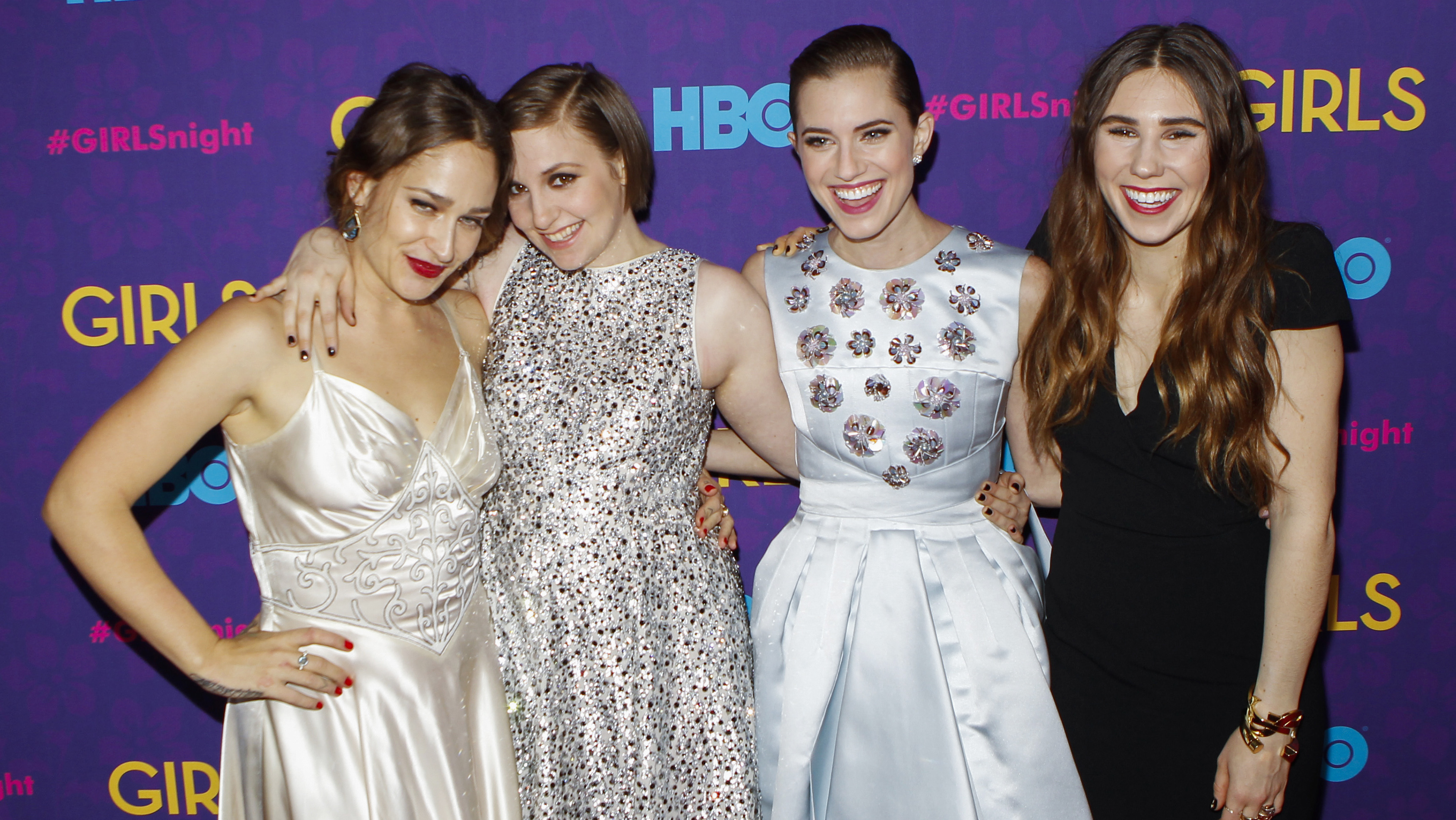 Cast members of the HBO show Girls Jemima Kirke, Lena Dunham, Allison Williams, and Zosia Mamet arrive for the premiere of the third season of the show in New York