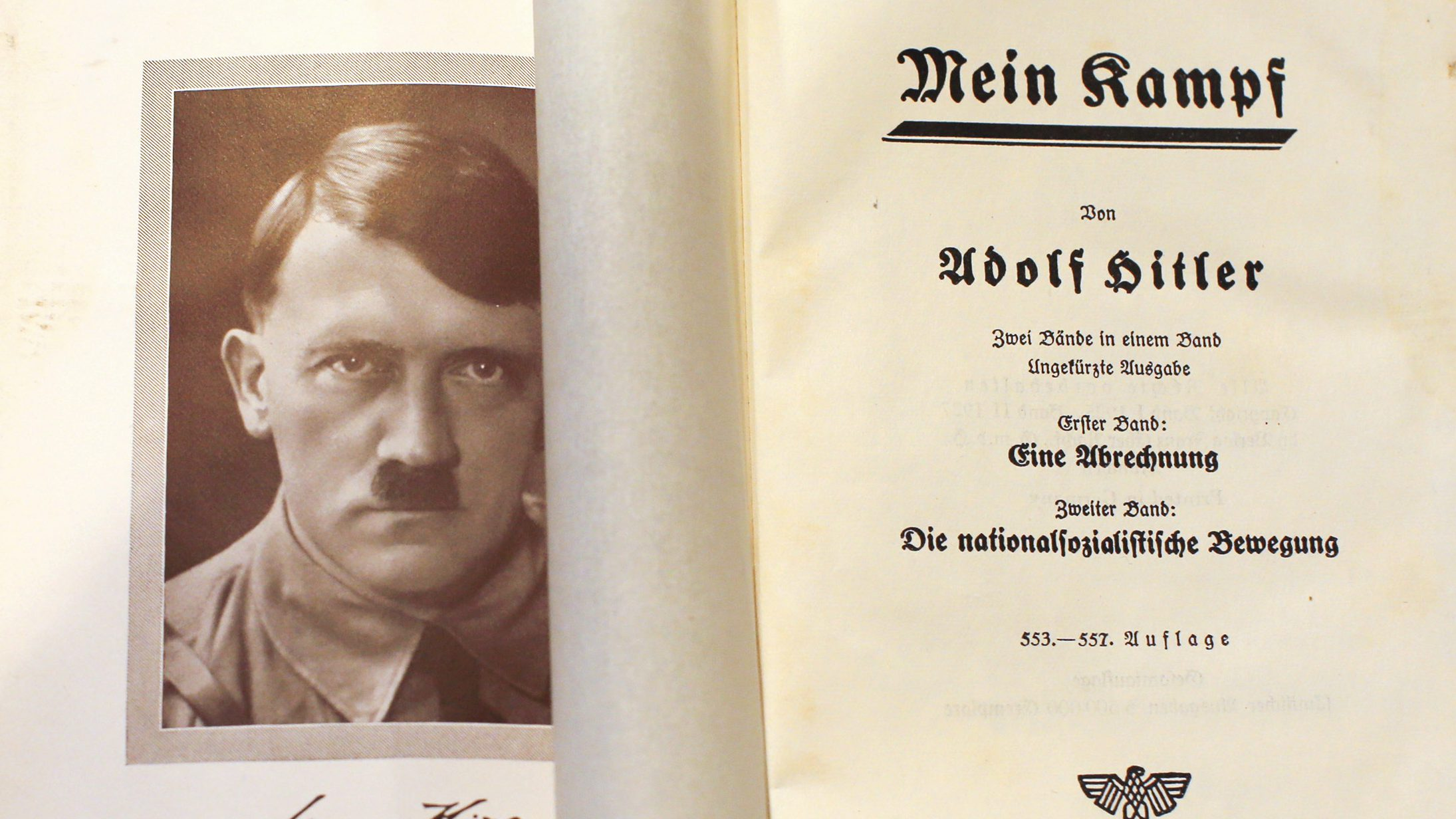 """A copy of Adolf Hitler's book """"Mein Kampf"""" (My Struggle) from 1940 is pictured in Berlin, Germany, in this picture taken December 16, 2015. For the first time since Hitler's death, Germany is publishing the Nazi leader's political treatise """"Mein Kampf,"""" unleashing a highly charged row over whether the text is an inflammatory racist diatribe or a useful educational tool. REUTERS/Fabrizio Bensch - RTX1ZVMJ"""